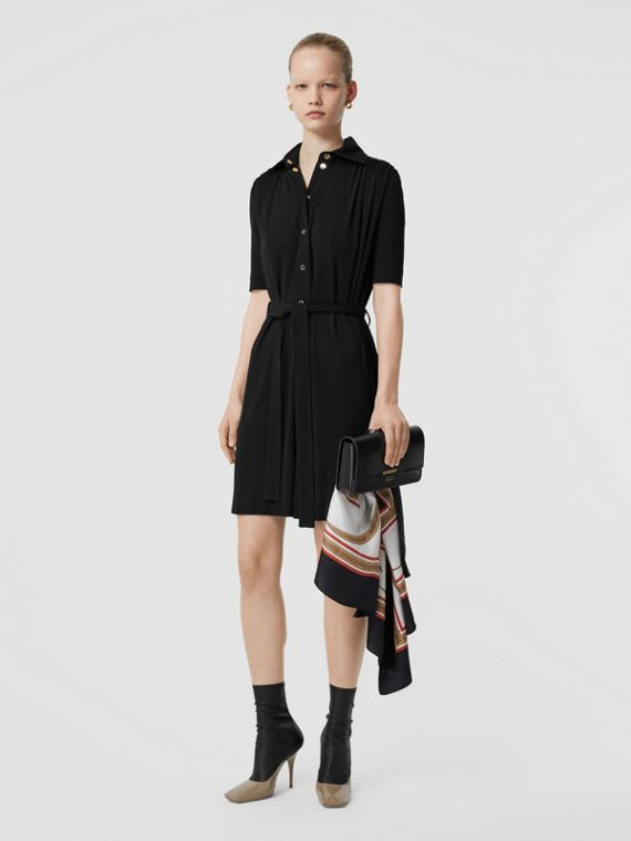 Short-sleeve Gathered Jersey Dress in Black