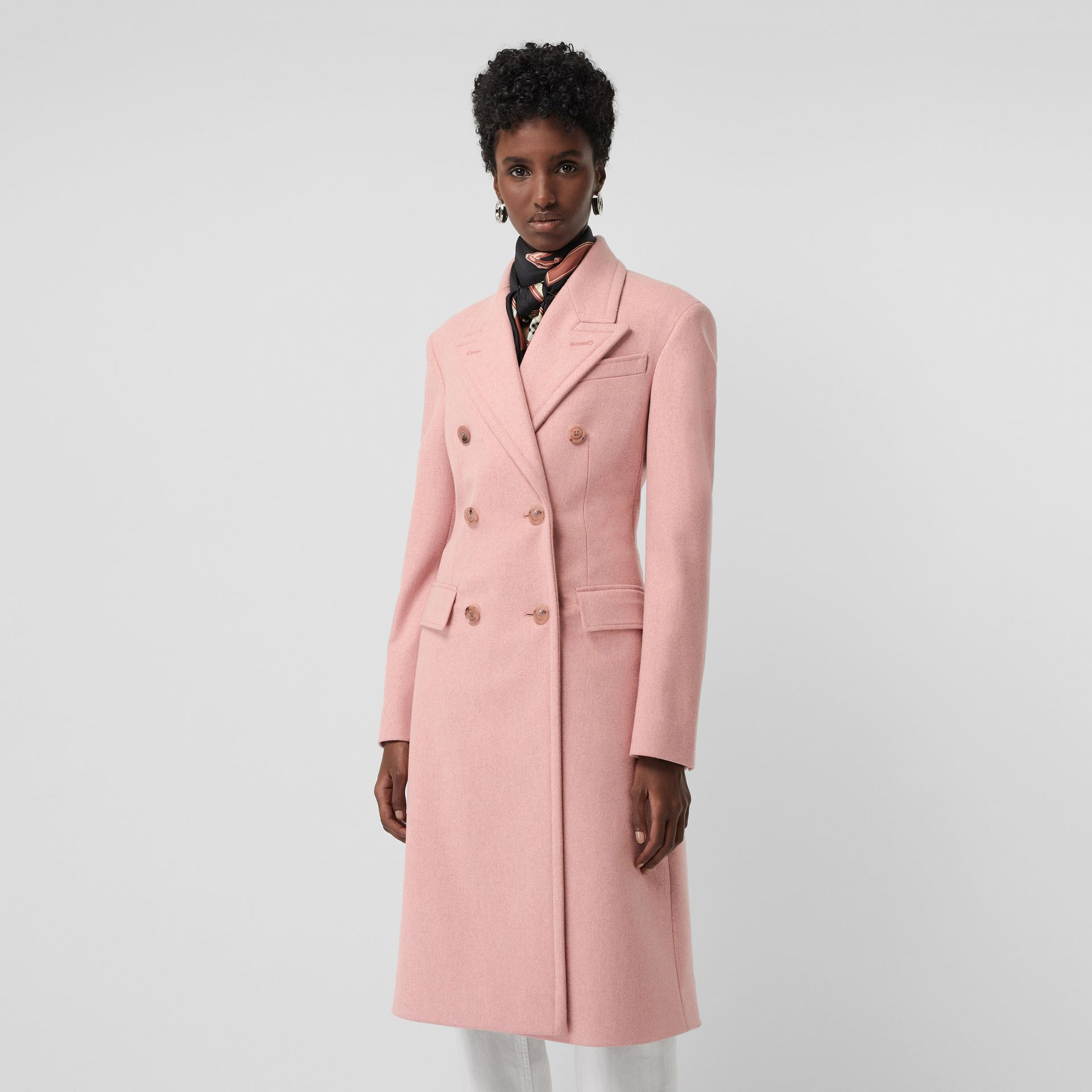 Double-breasted Wool Tailored Coat in Apricot Pink Melange - Women | Burberry United Kingdom - gallery image 5