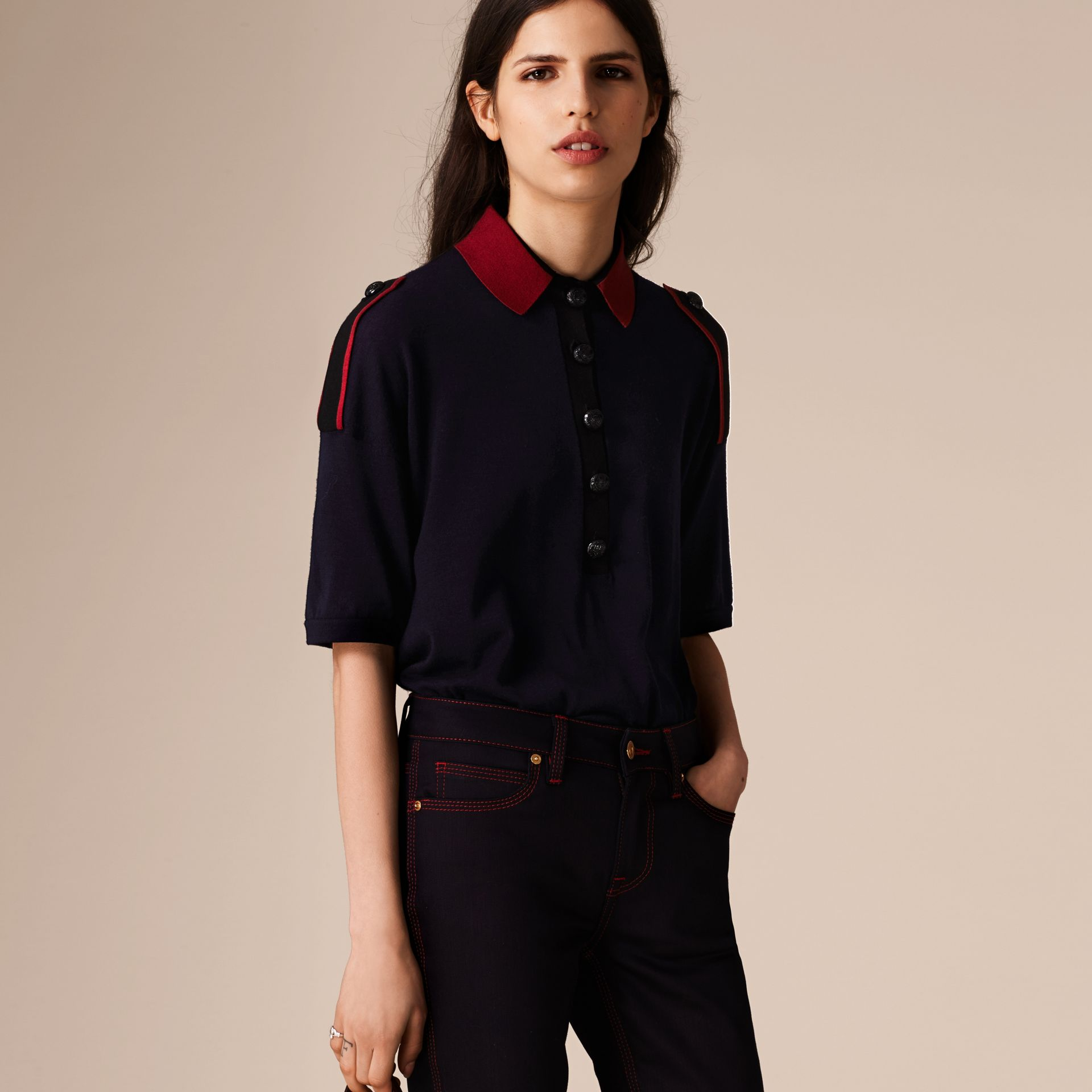 Navy/red Epaulette Detail Wool Polo Shirt - gallery image 4