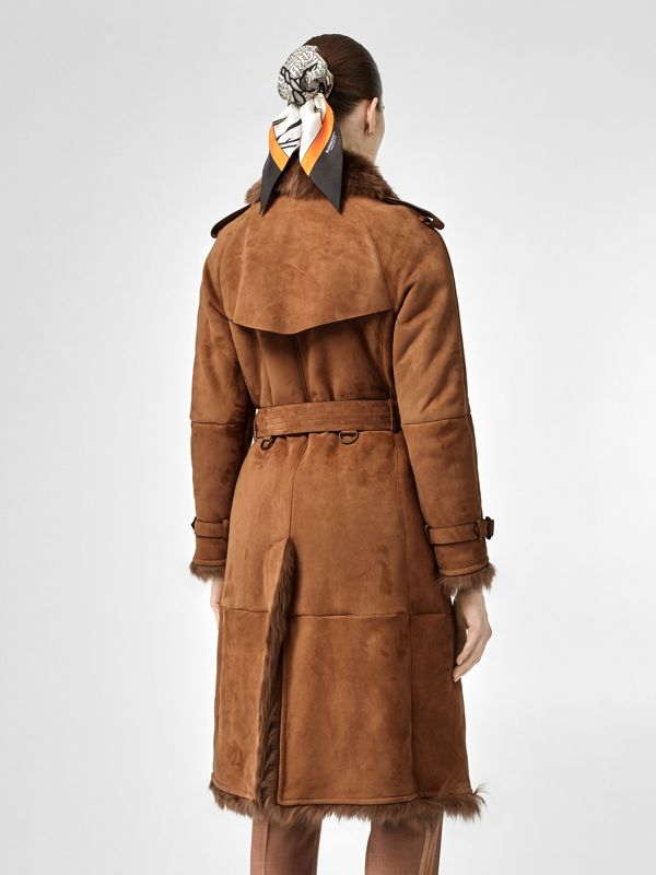Shearling Trench Coat in Dark Camel - Women | Burberry - cell image 2