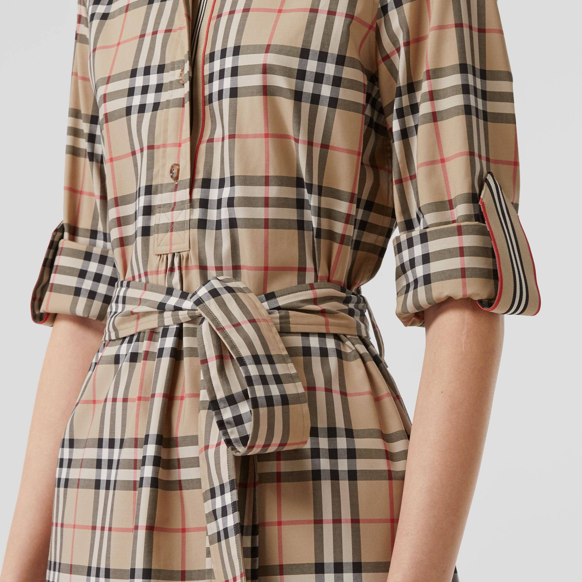 Vintage Check Stretch Cotton Tie-waist Shirt Dress in Archive Beige - Women | Burberry - gallery image 4