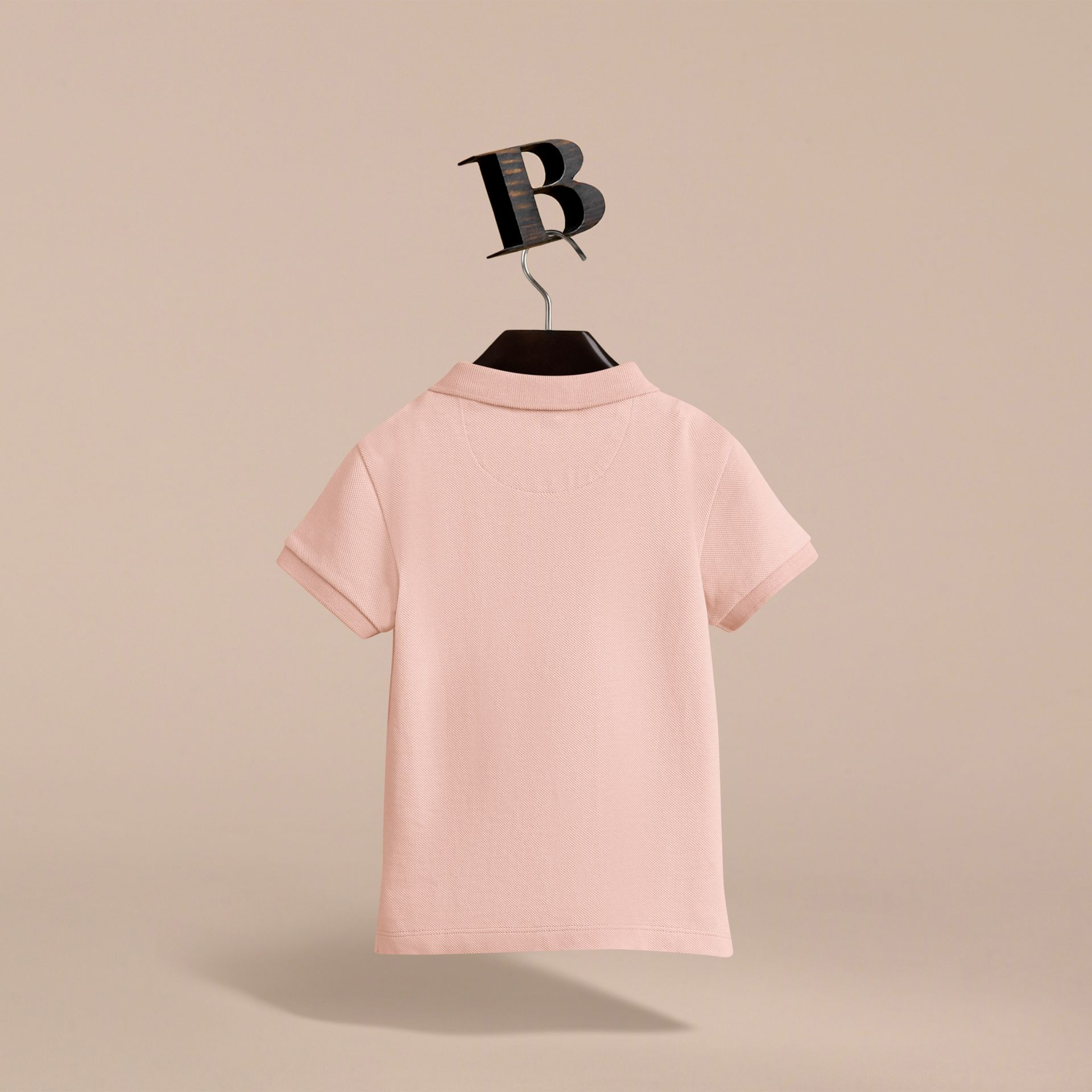 Check Placket Polo Shirt in Chalk Pink - Boy | Burberry Canada - gallery image 4