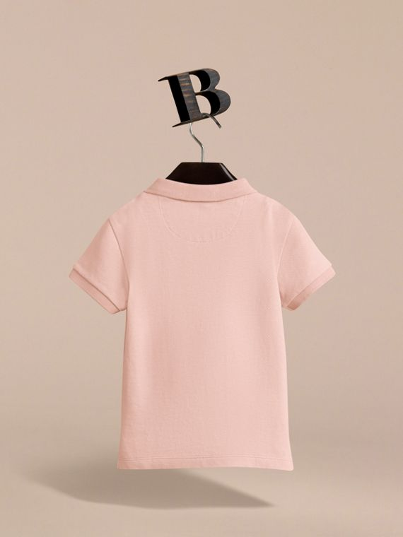Check Placket Polo Shirt in Chalk Pink - Boy | Burberry - cell image 3