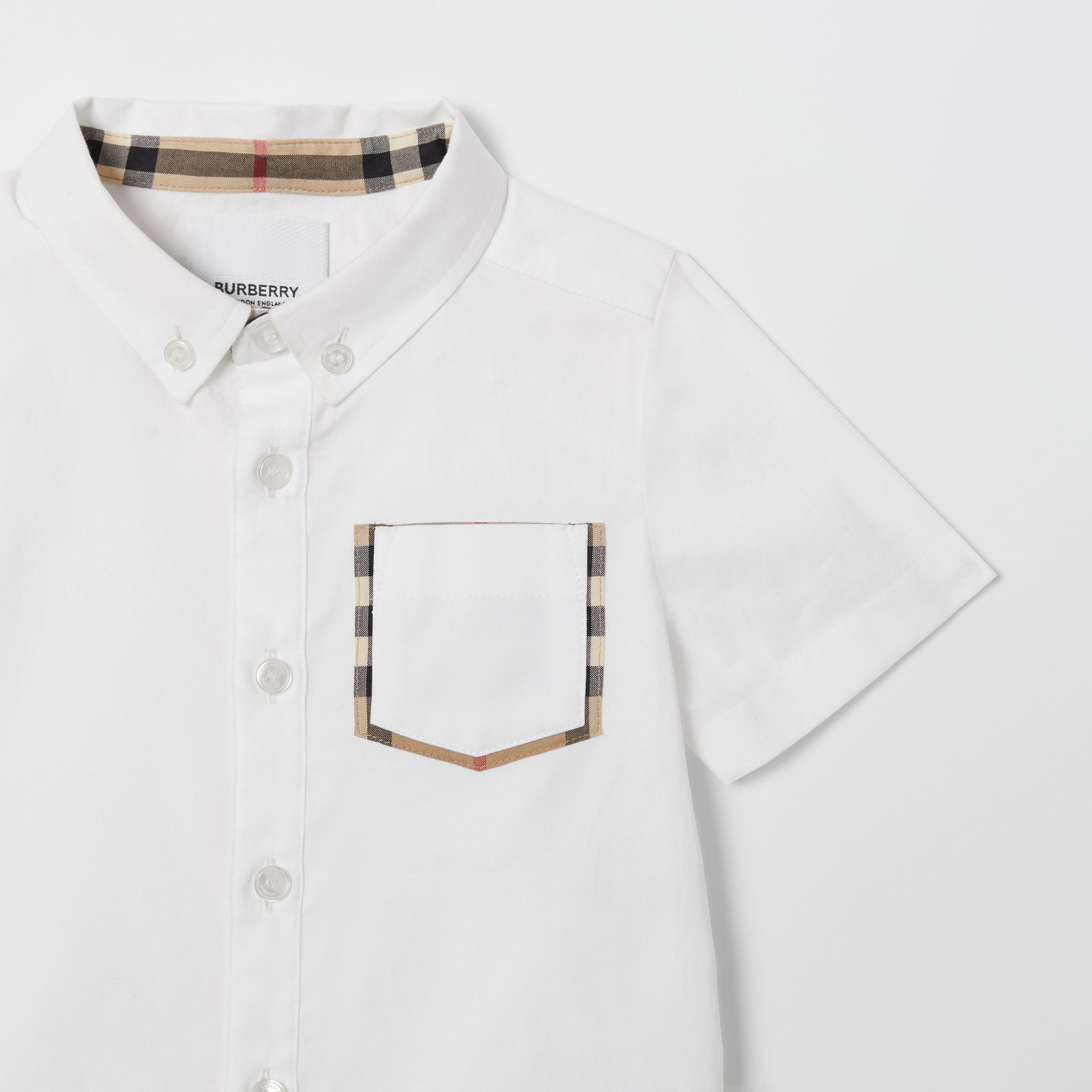Short-sleeve Vintage Check Detail Cotton Oxford Shirt in White - Children | Burberry United Kingdom - gallery image 4