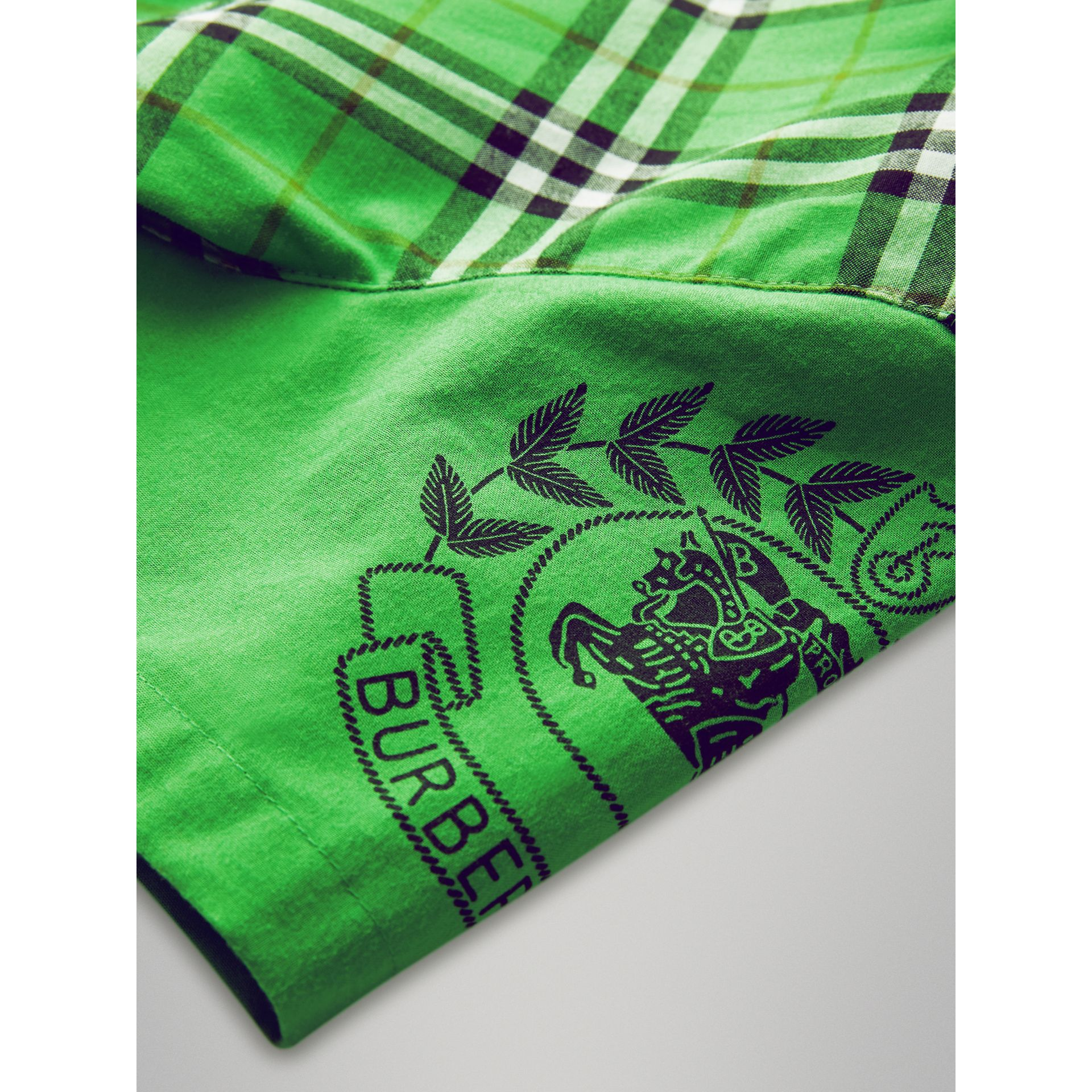 Short-sleeve Archive Logo Detail Check Cotton Shirt in Bright Grass Green | Burberry Australia - gallery image 1