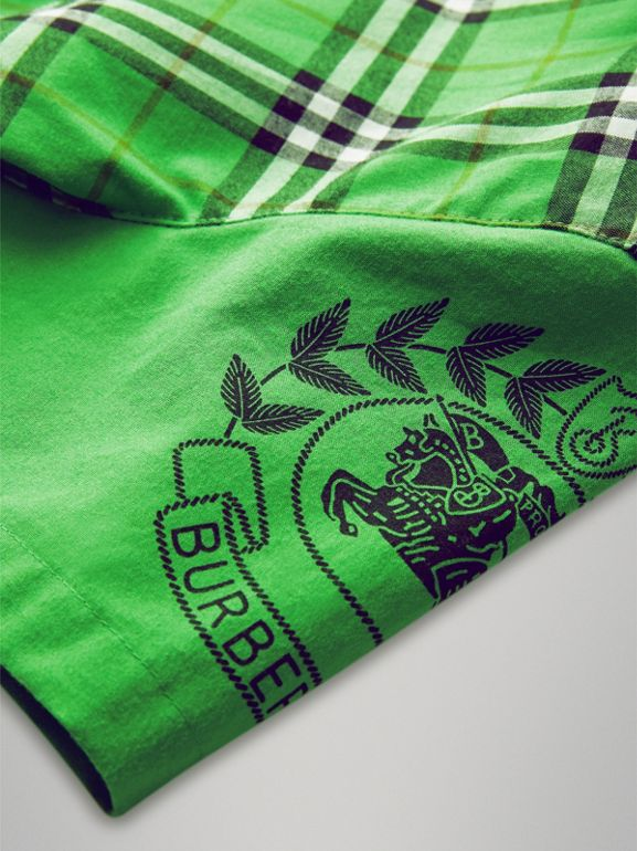 Short-sleeve Archive Logo Detail Check Cotton Shirt in Bright Grass Green | Burberry - cell image 1
