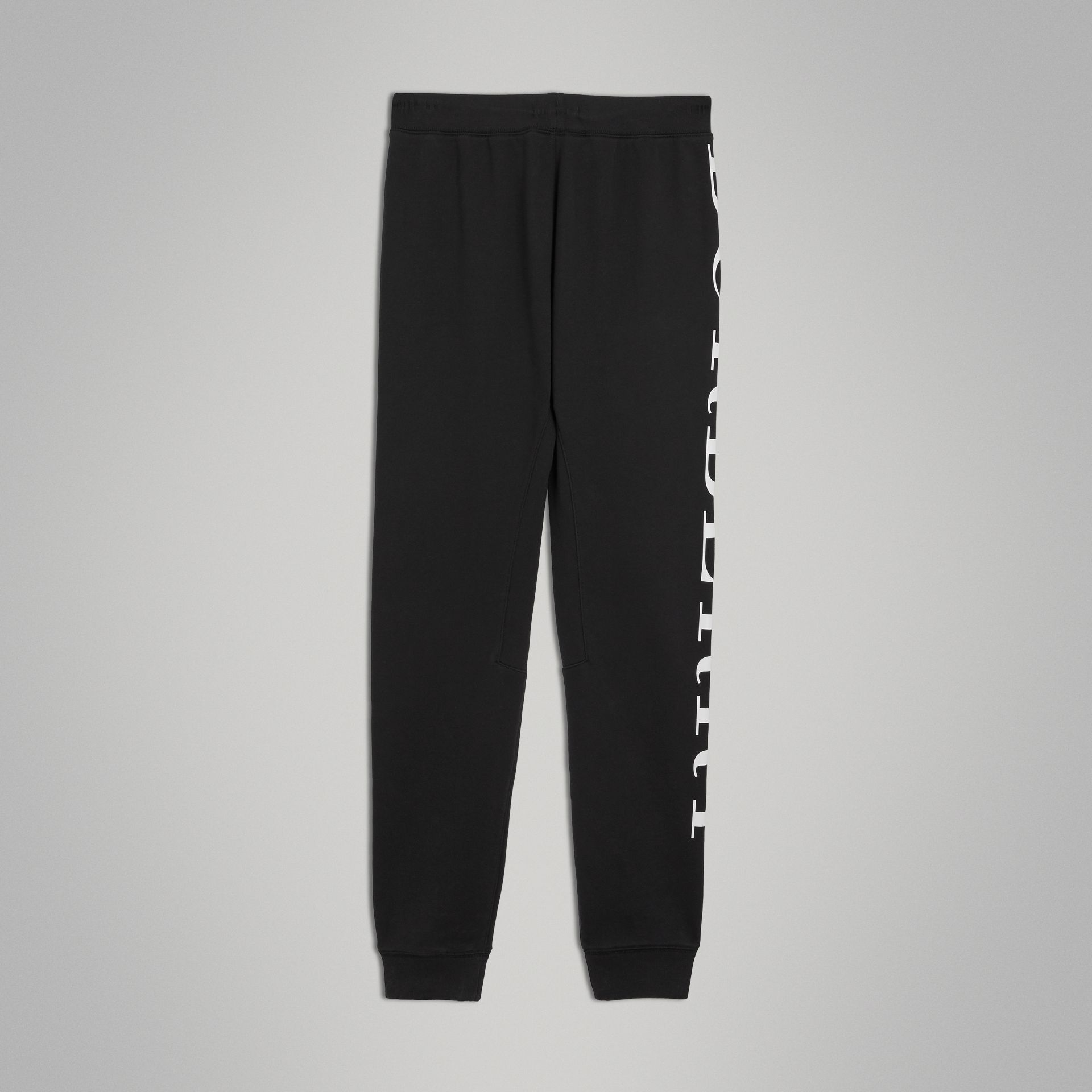 Logo Print Cotton Trackpants in Black | Burberry - gallery image 3