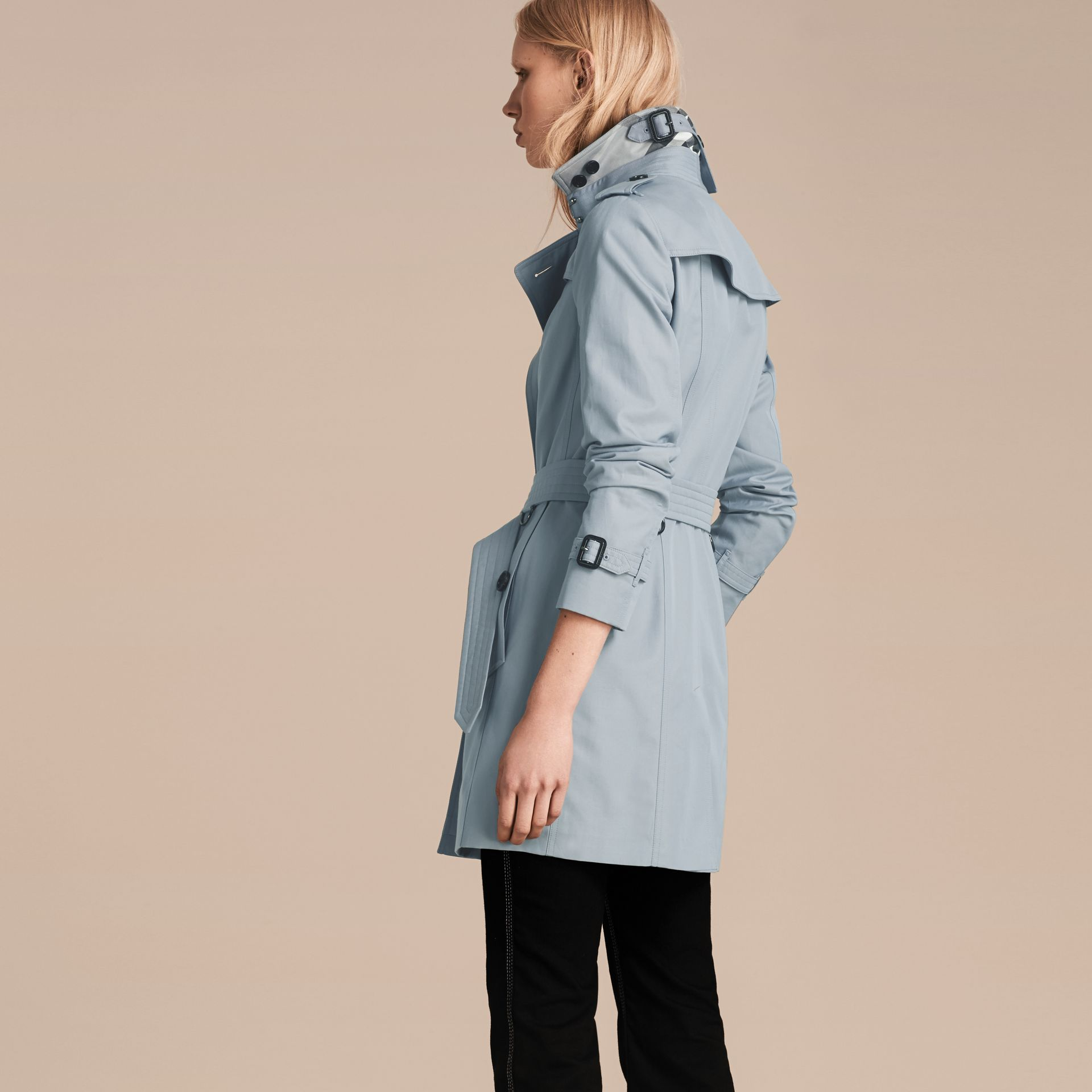 Pale sky blue Cotton Gabardine Trench Coat Pale Sky Blue - gallery image 3