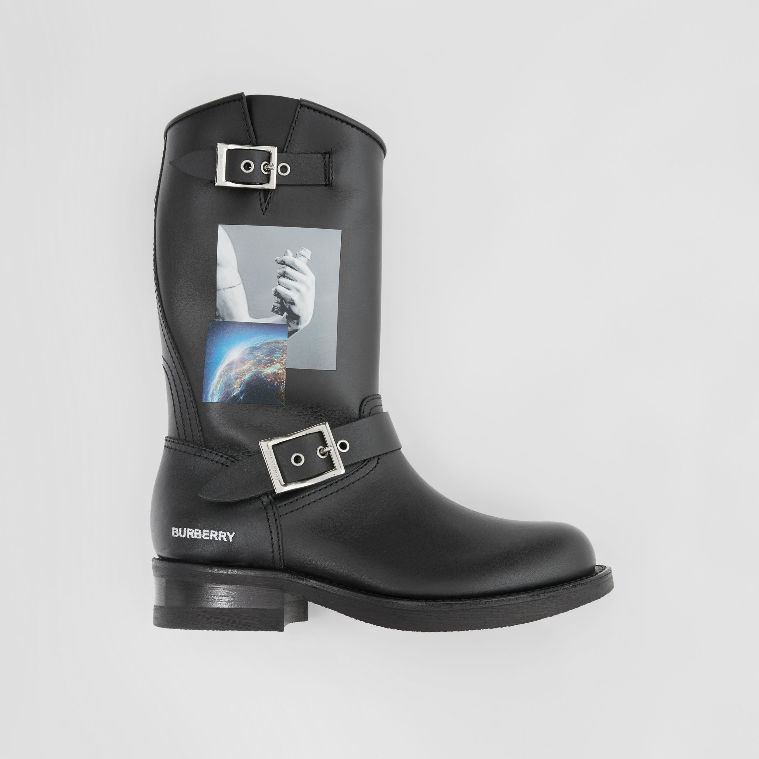 Montage Print Leather Biker Boots in Black - Women | Burberry Hong Kong S.A.R. - 1