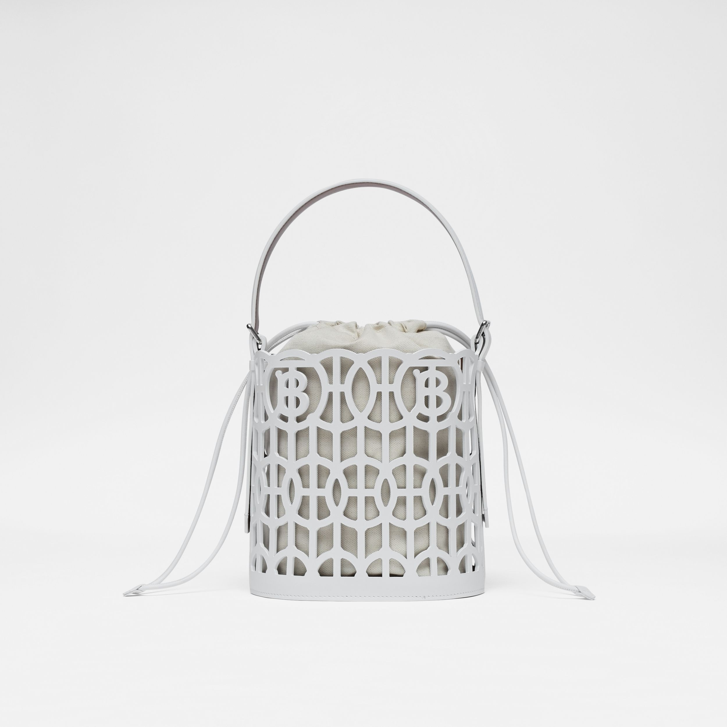 Leather Rose Bucket Bag in Optic White/tan - Women | Burberry - 1