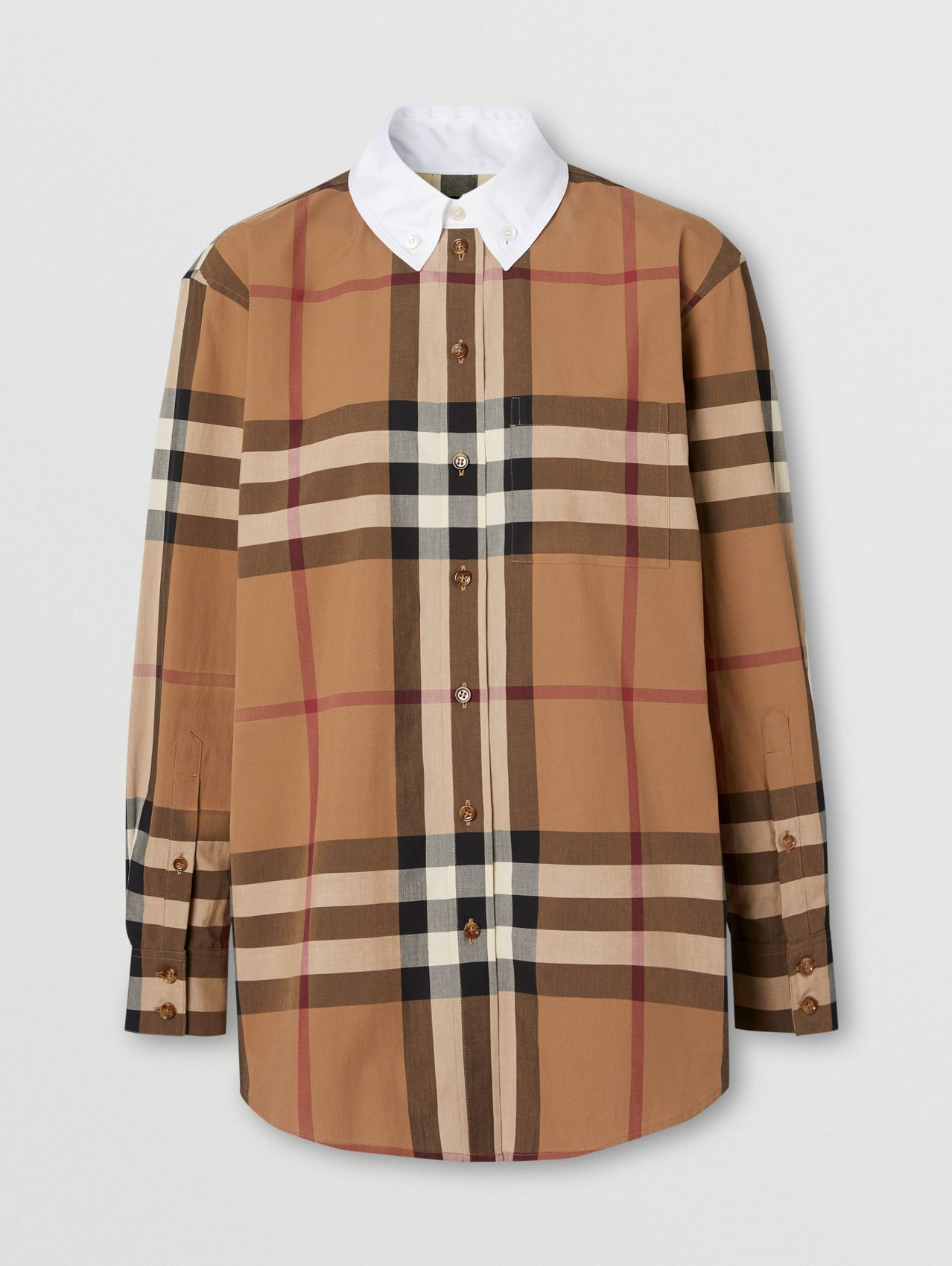 Check Cotton Poplin Oversized Shirt in Birch Brown