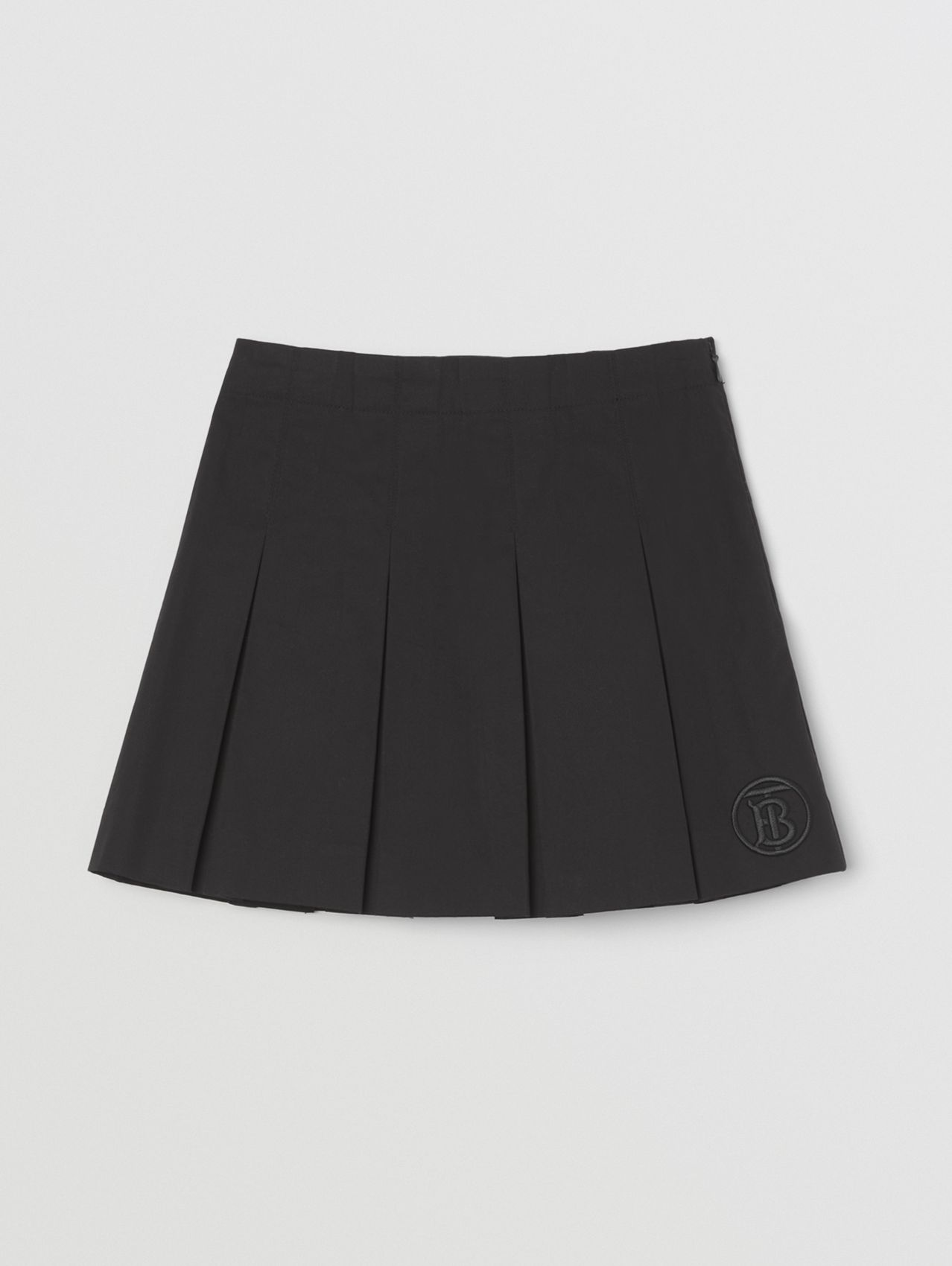 Monogram Motif Pleated Cotton Twill Skirt in Black