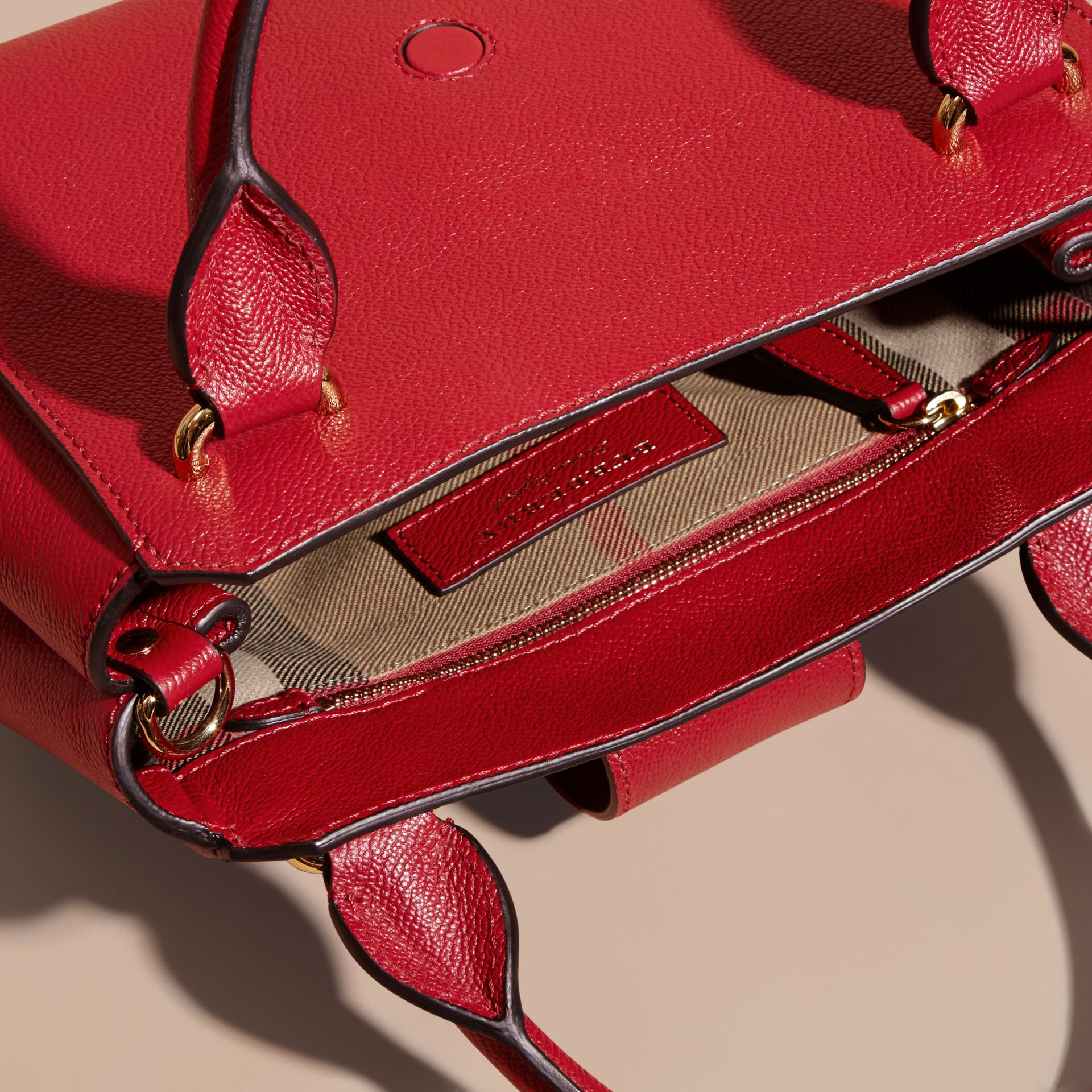 Parade red The Small Buckle Tote in Grainy Leather Parade Red - gallery image 5
