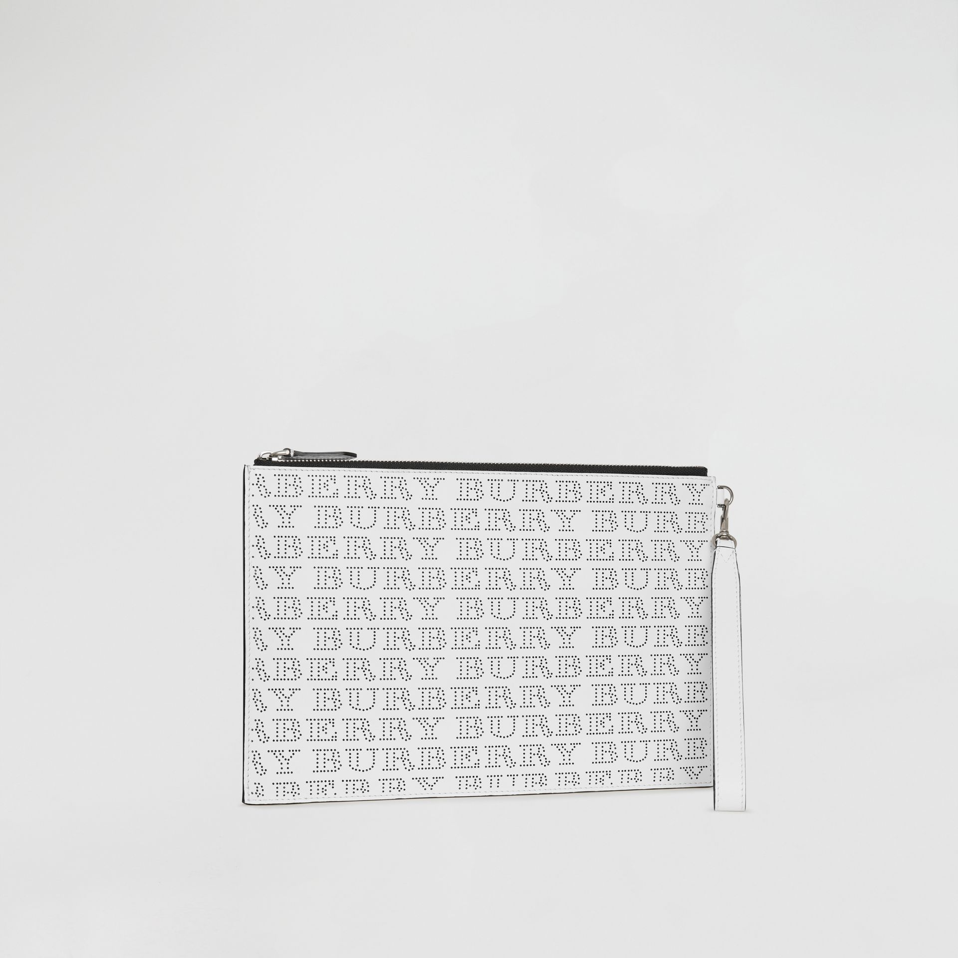 Perforated Logo Leather Zip Pouch in Optic White | Burberry - gallery image 5