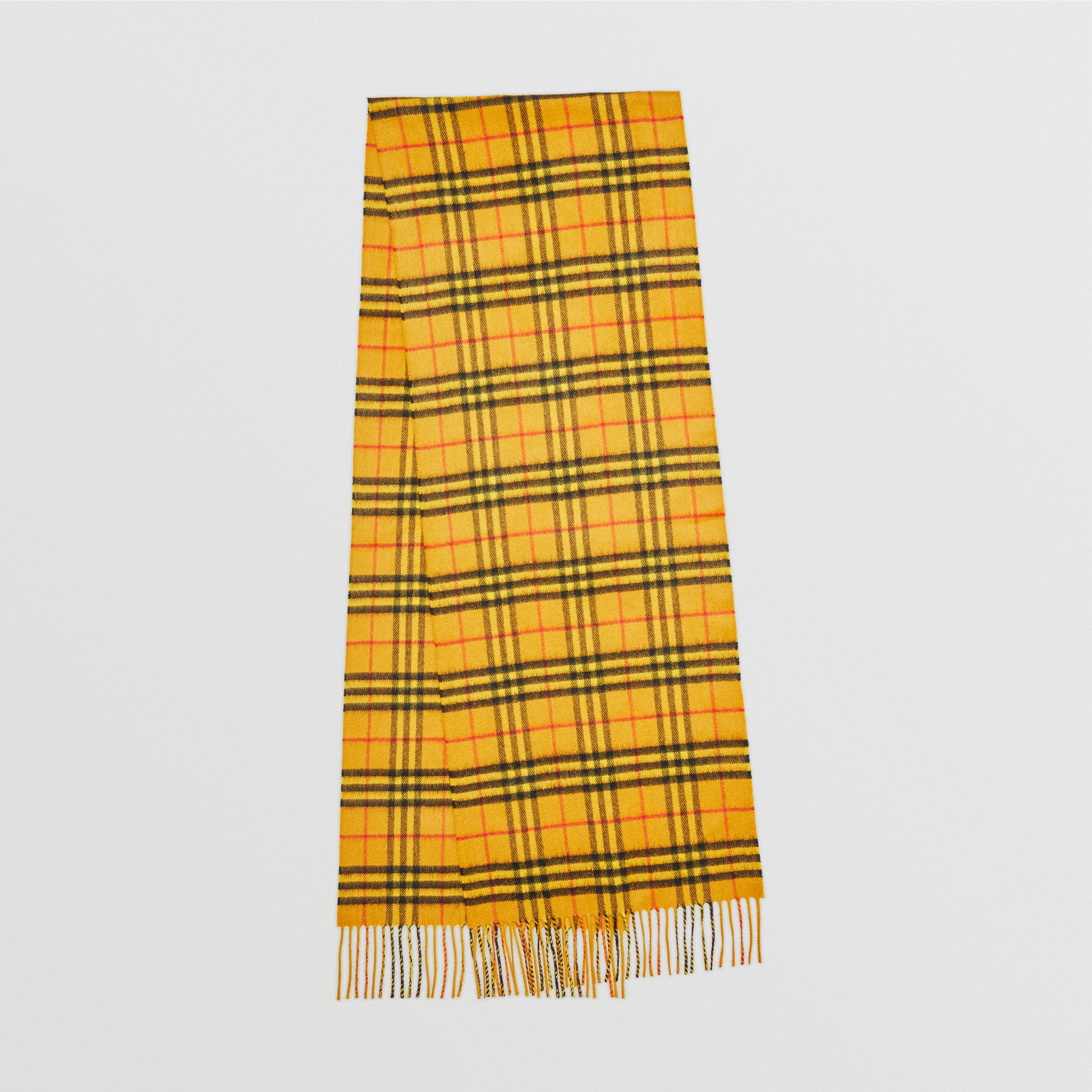 The Classic Vintage Check Cashmere Scarf in Vibrant Yellow | Burberry Australia - gallery image 0