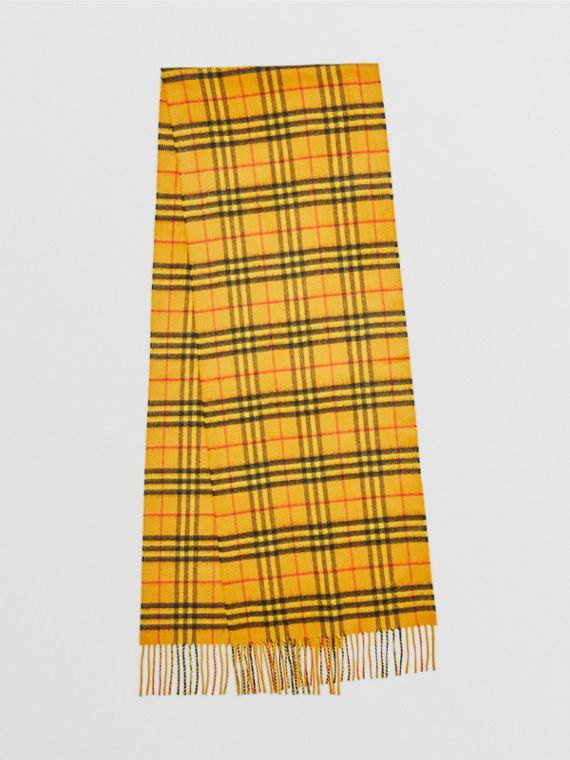 The Classic Vintage Check Cashmere Scarf in Vibrant Yellow