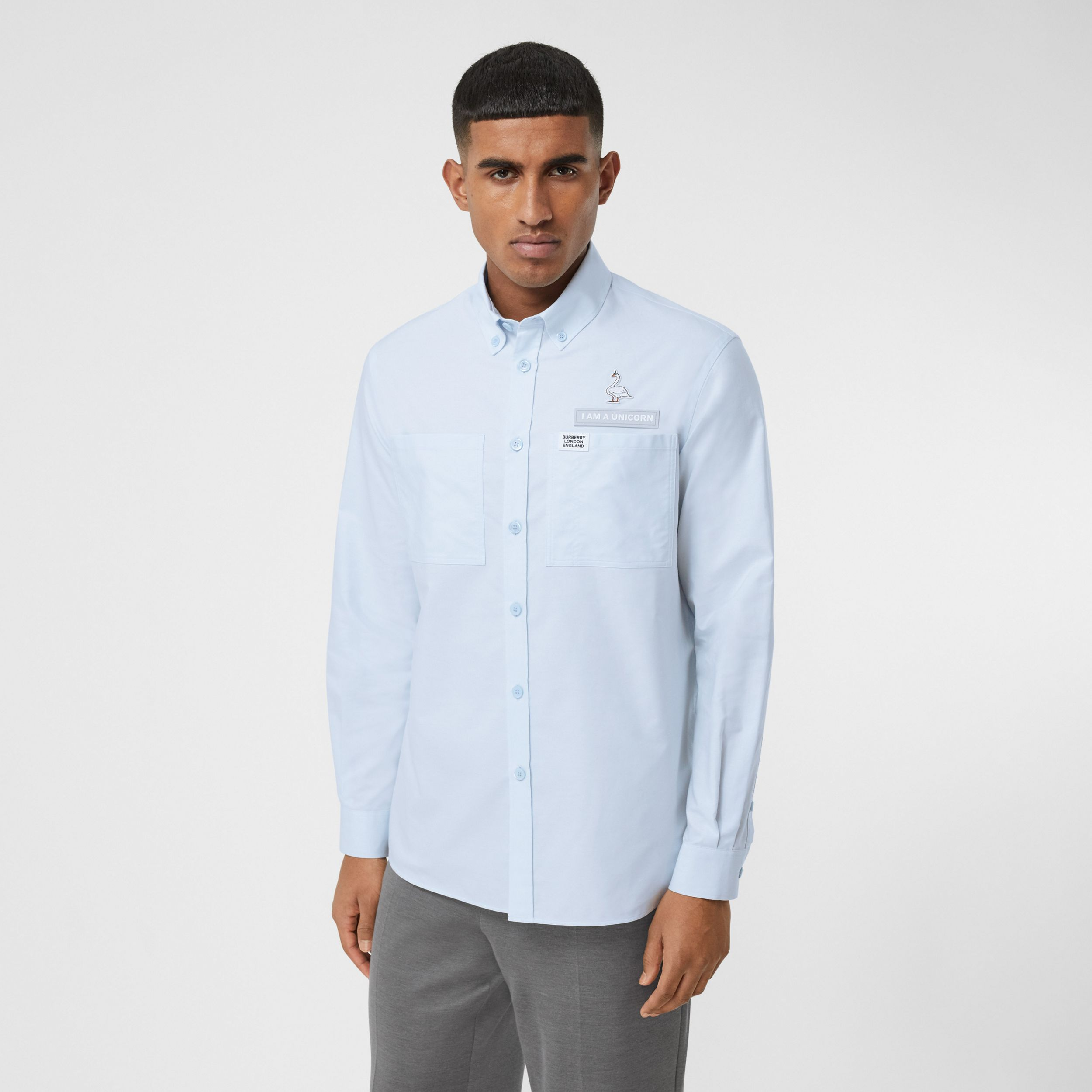 Swan and Slogan Appliqué Cotton Oversized Shirt in Sky Blue - Men | Burberry - 1