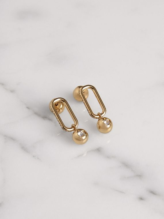Crystal Charm Gold-plated Drop Earrings in Light Gold/crystal
