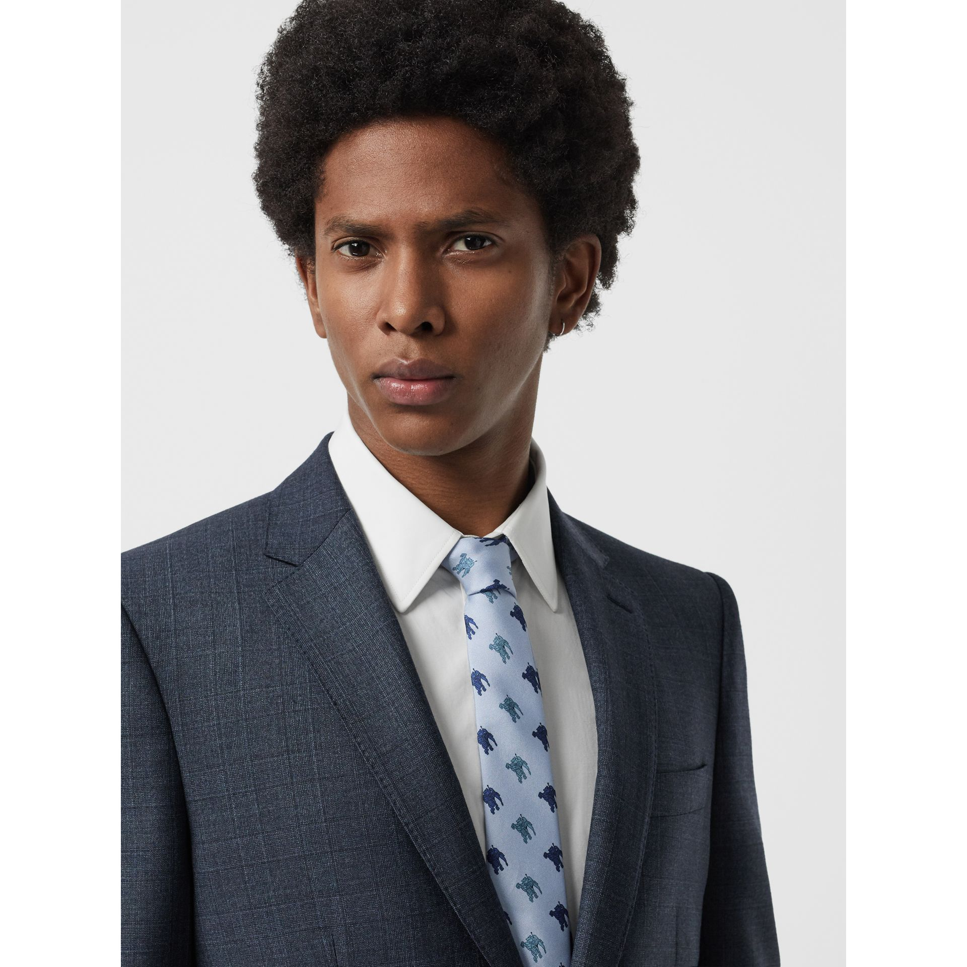 Slim Cut Equestrian Knight Print Silk Tie in Light Blue - Men | Burberry - gallery image 2