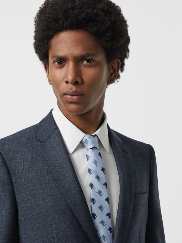 Slim Cut Equestrian Knight Print Silk Tie in Light Blue - Men | Burberry - cell image 2
