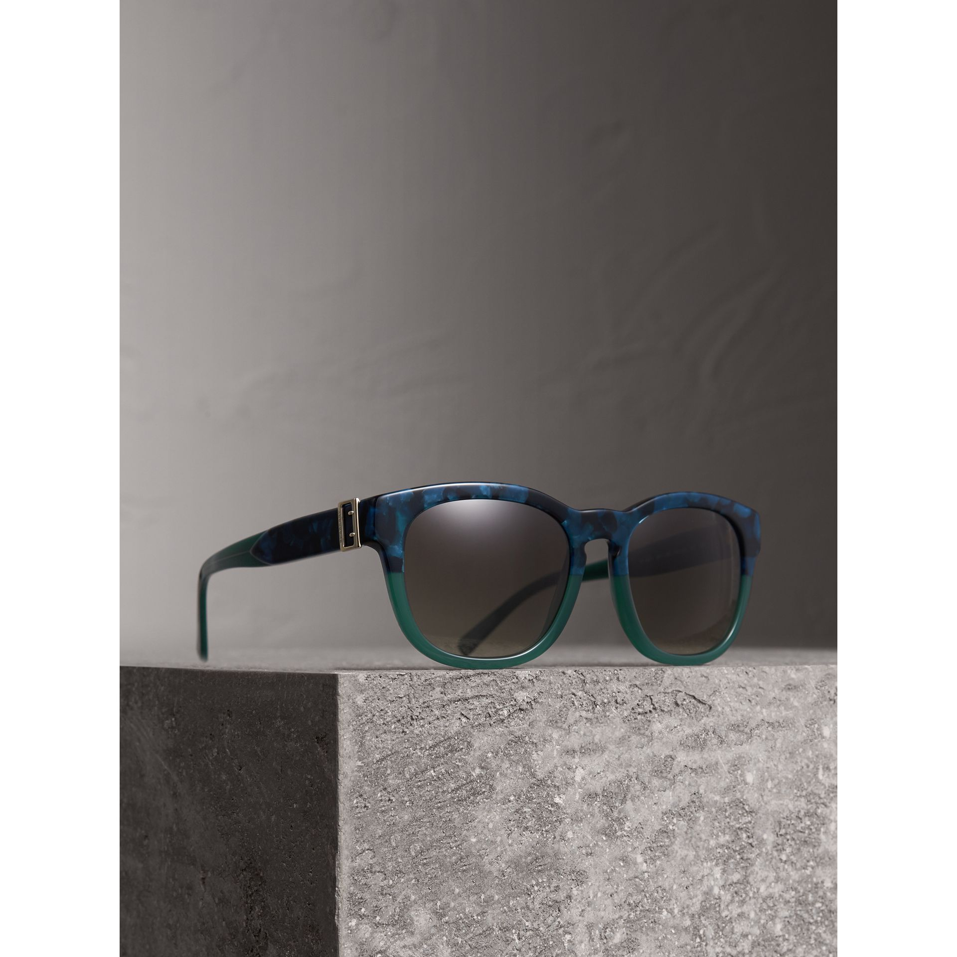 Buckle Detail Square Frame Sunglasses in Blue - Women | Burberry Canada - gallery image 1