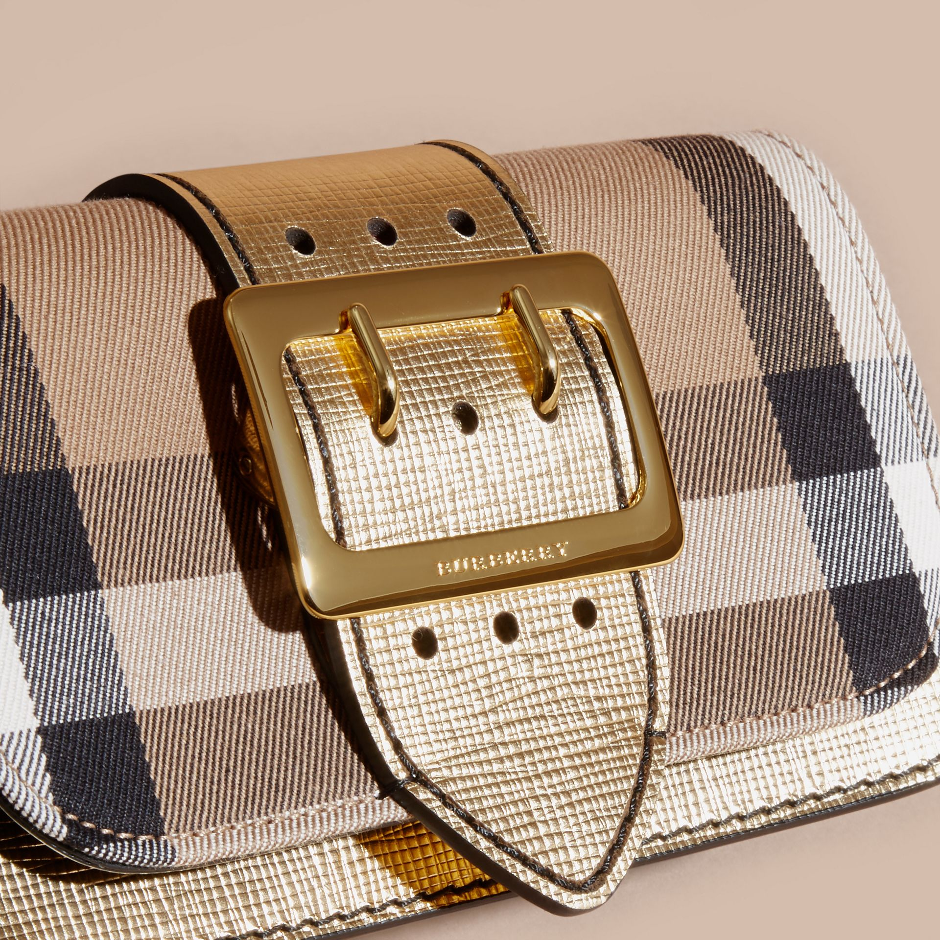 The Small Buckle Bag in House Check and Leather Gold - gallery image 2