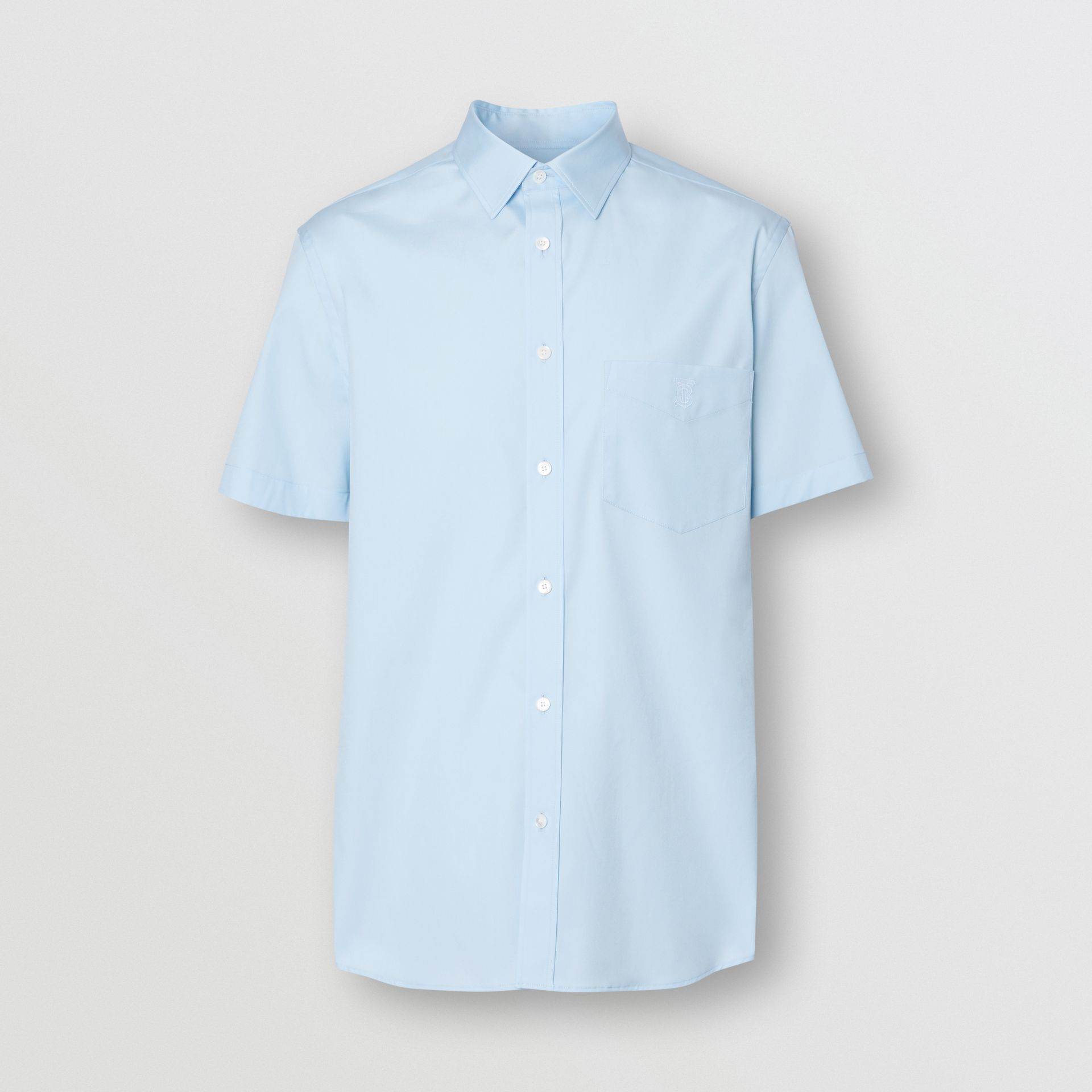 Short-sleeve Monogram Motif Stretch Cotton Shirt in Pale Blue - Men | Burberry - gallery image 3