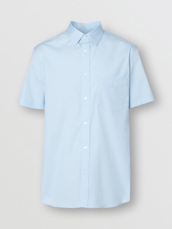 Kurzärmeliges Hemd aus Stretchbaumwolle mit Monogrammmotiv (Hellblau)