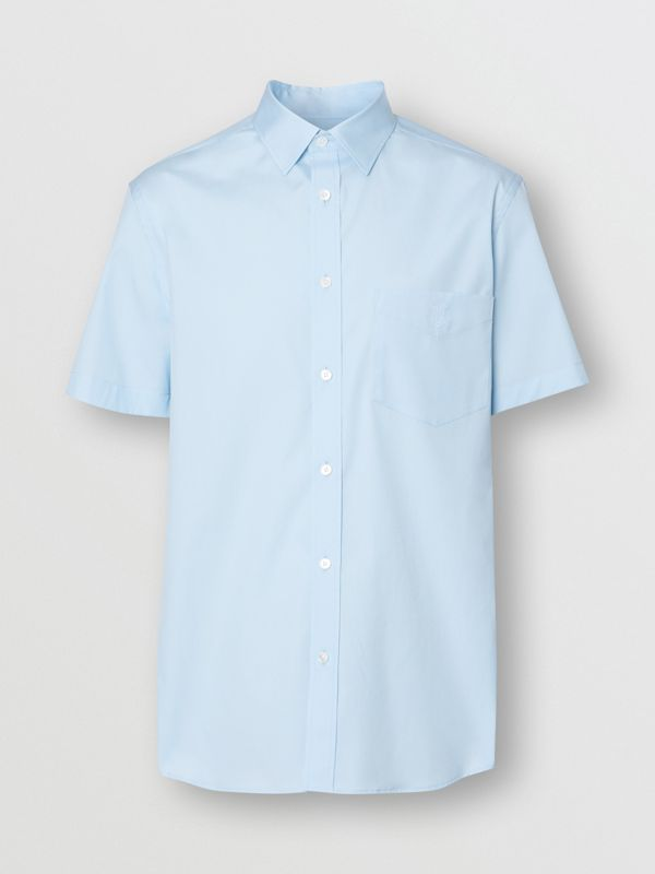 Short-sleeve Monogram Motif Stretch Cotton Shirt in Pale Blue - Men | Burberry - cell image 3