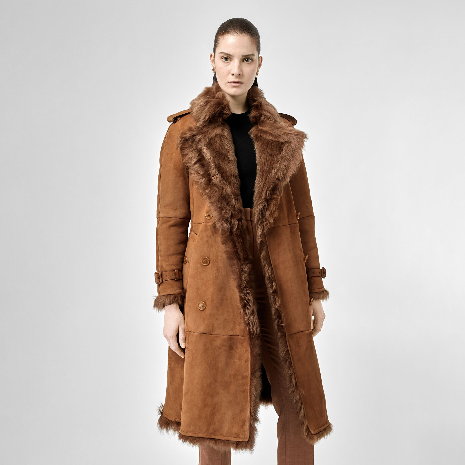 Shearling Trench Coat in Dark Camel - Women | Burberry - gallery image 7