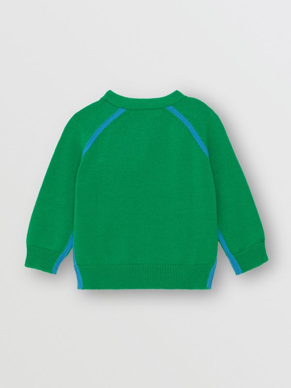 Two-tone Cotton Knit Cardigan in Bright Emerald - Children | Burberry United Kingdom - cell image 3