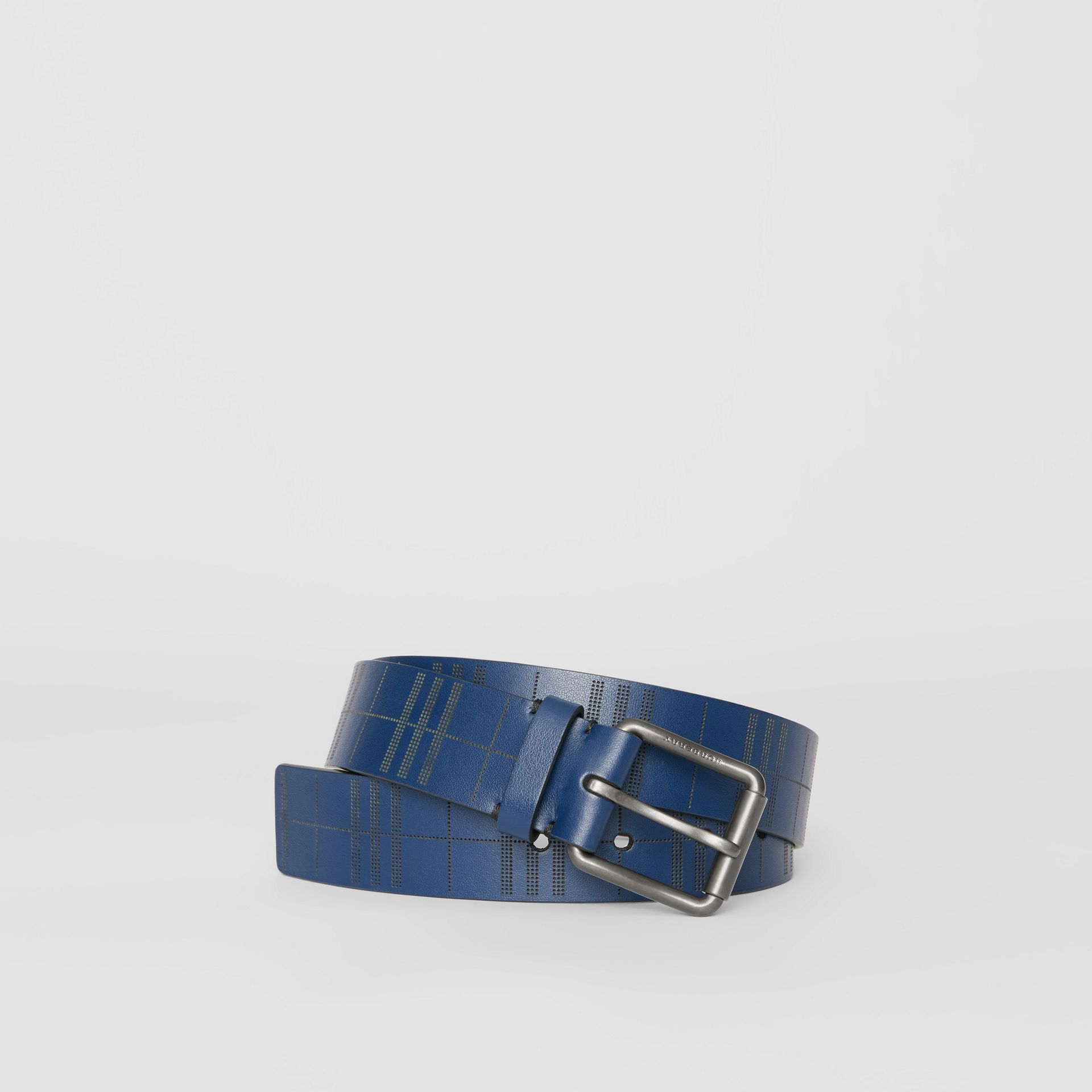 Perforated Check Leather Belt in Ink Blue - Men | Burberry - gallery image 0