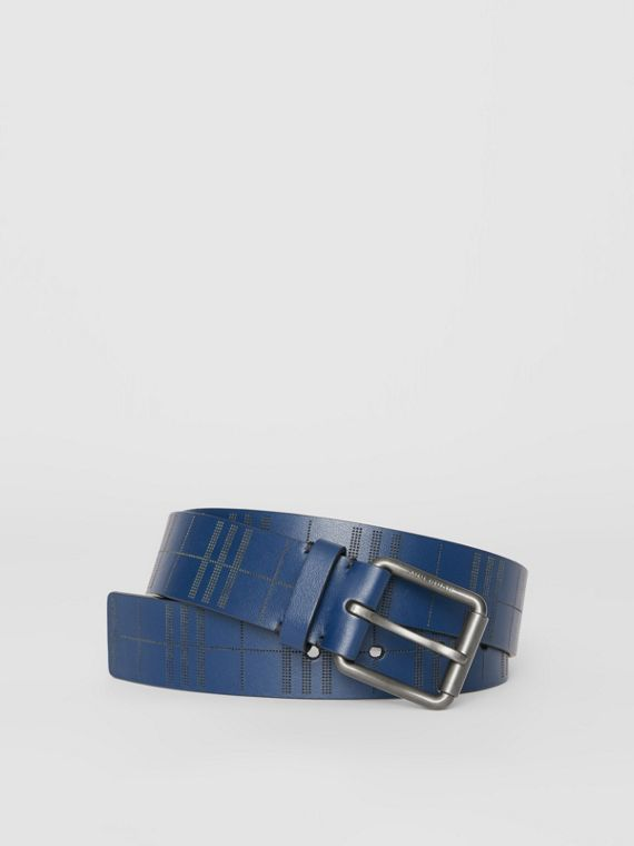 Perforated Check Leather Belt in Ink Blue
