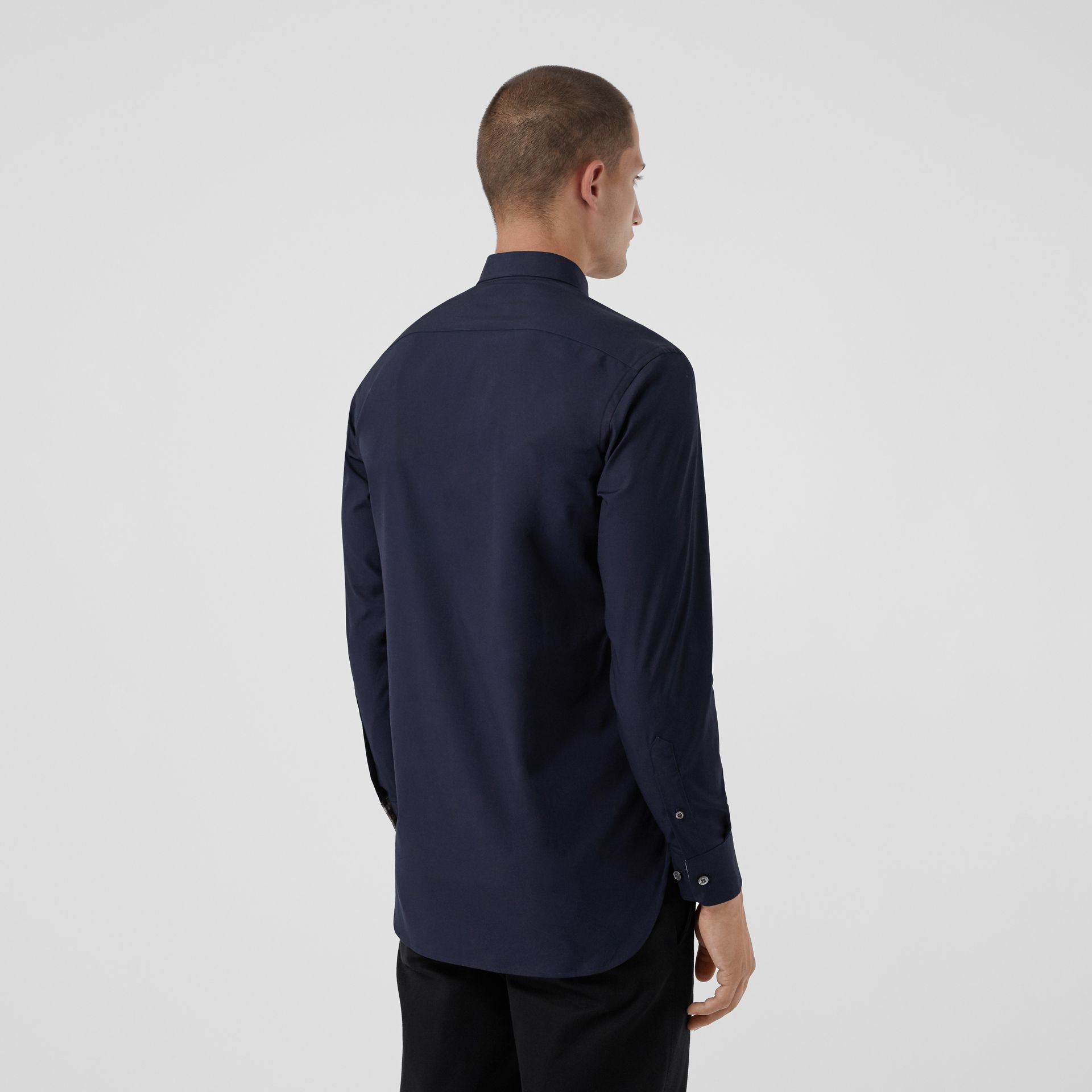 Check Cuff Stretch Cotton Poplin Shirt in Navy - Men | Burberry - gallery image 2