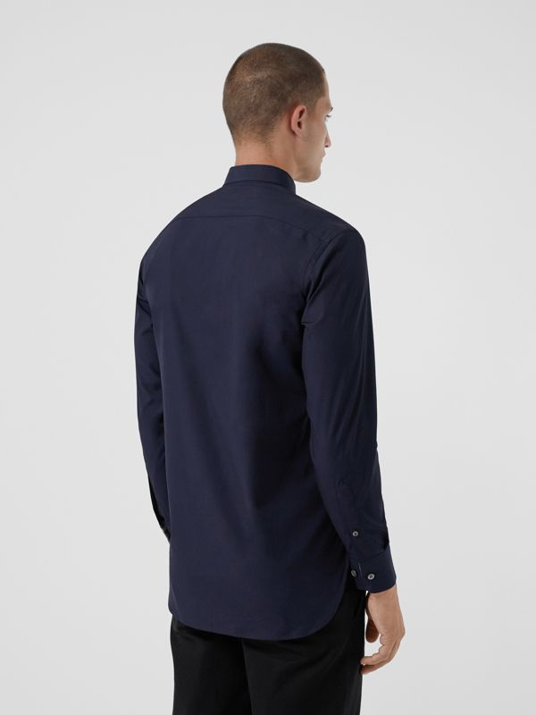 Check Cuff Stretch Cotton Poplin Shirt in Navy - Men | Burberry Australia - cell image 2