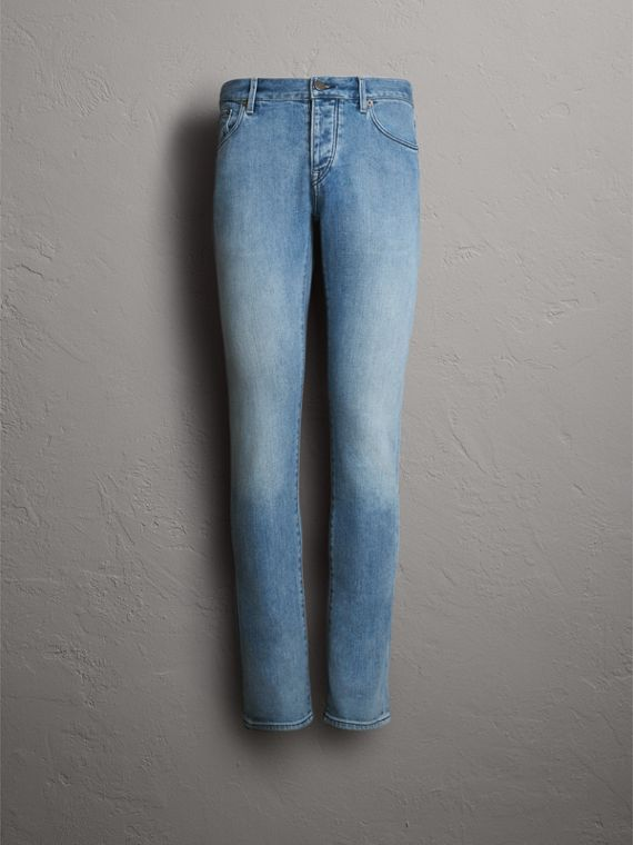 Straight Fit Light-wash Denim Jeans in Indigo Blue - Men | Burberry Australia - cell image 3