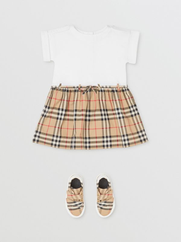 Vintage Check Detail Cotton Dress in White - Children | Burberry Canada - cell image 2