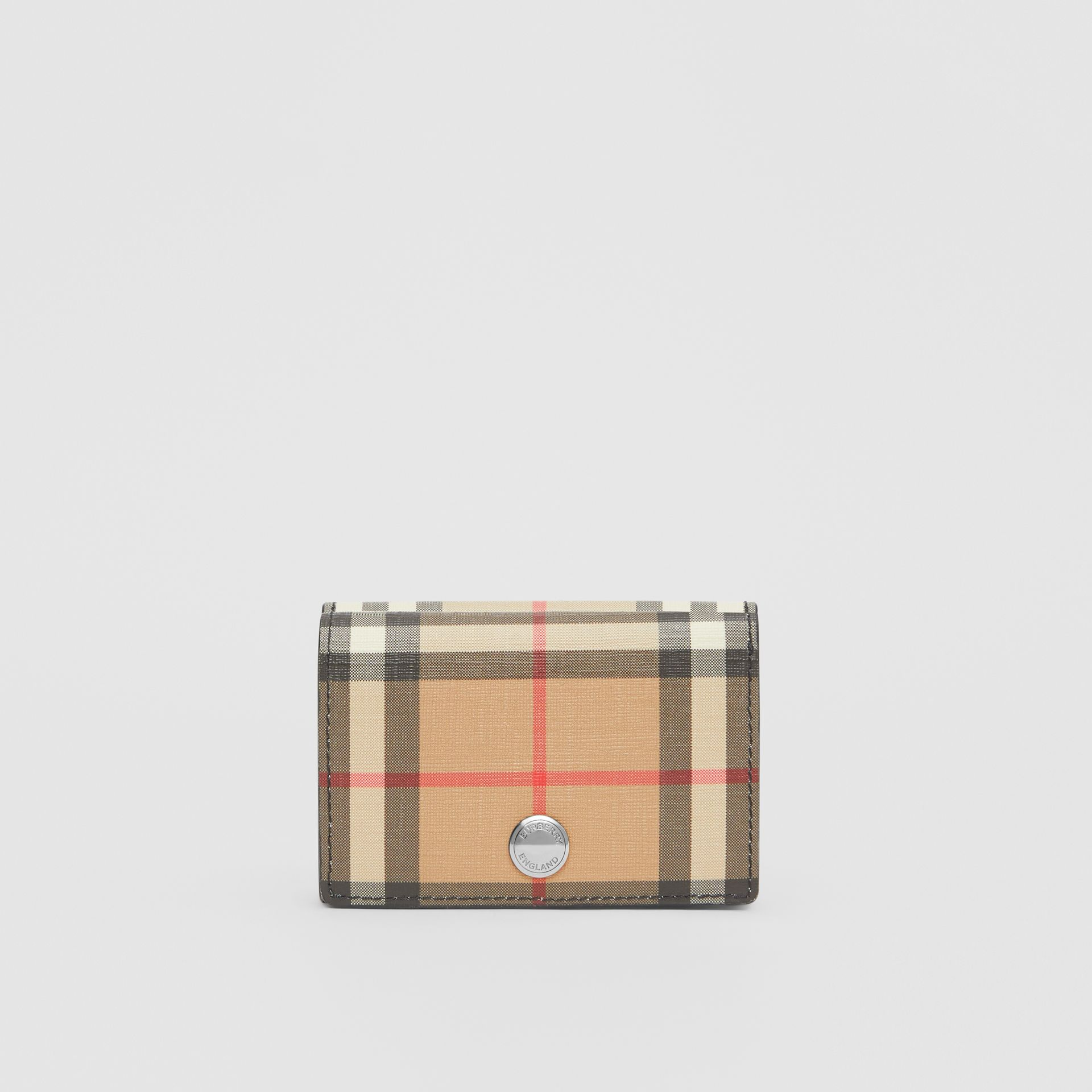 Small Vintage Check E-canvas Folding Wallet in Black - Women | Burberry Hong Kong - gallery image 4