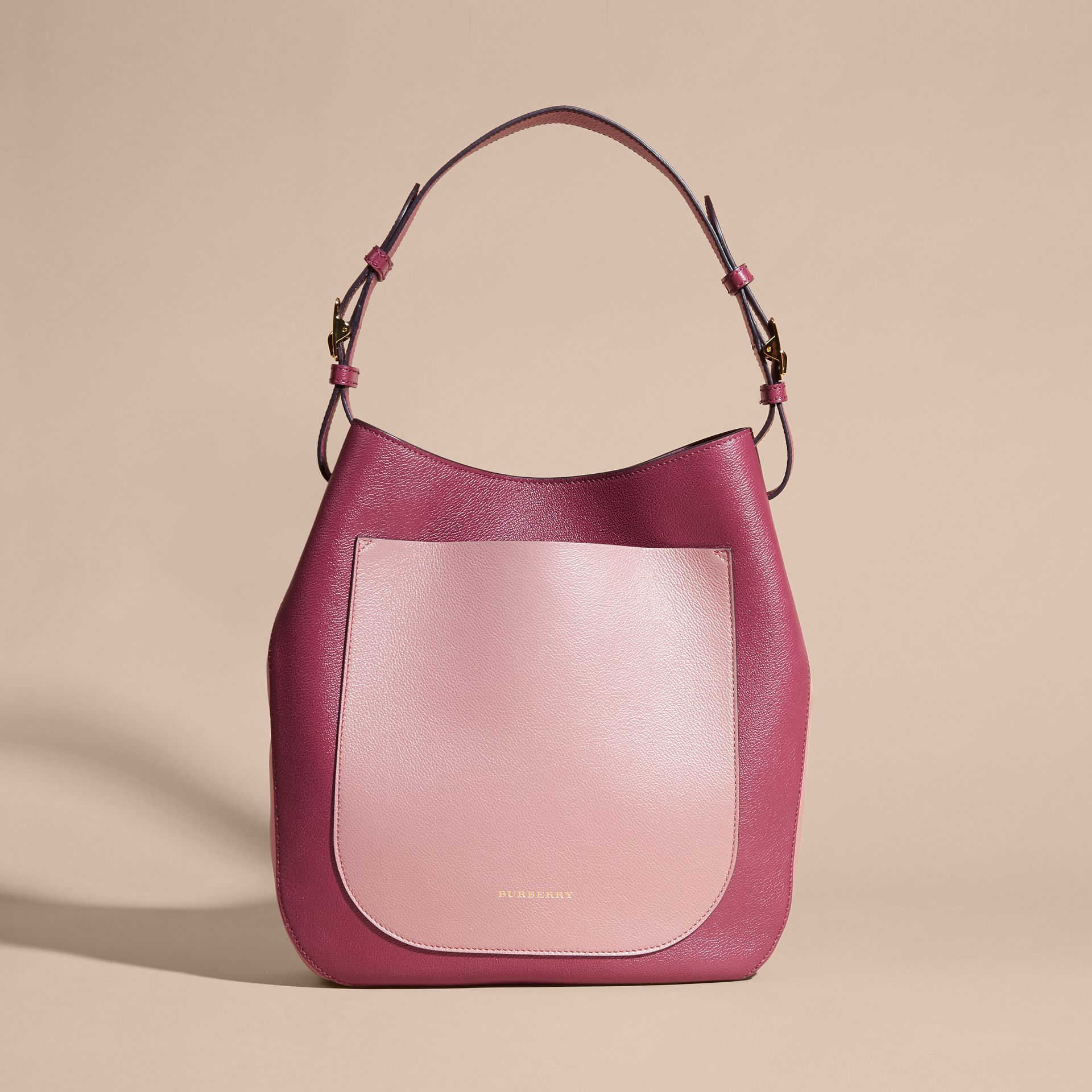 Textured Leather Shoulder Bag in Dark Plum/ Dusty Pink - gallery image 8