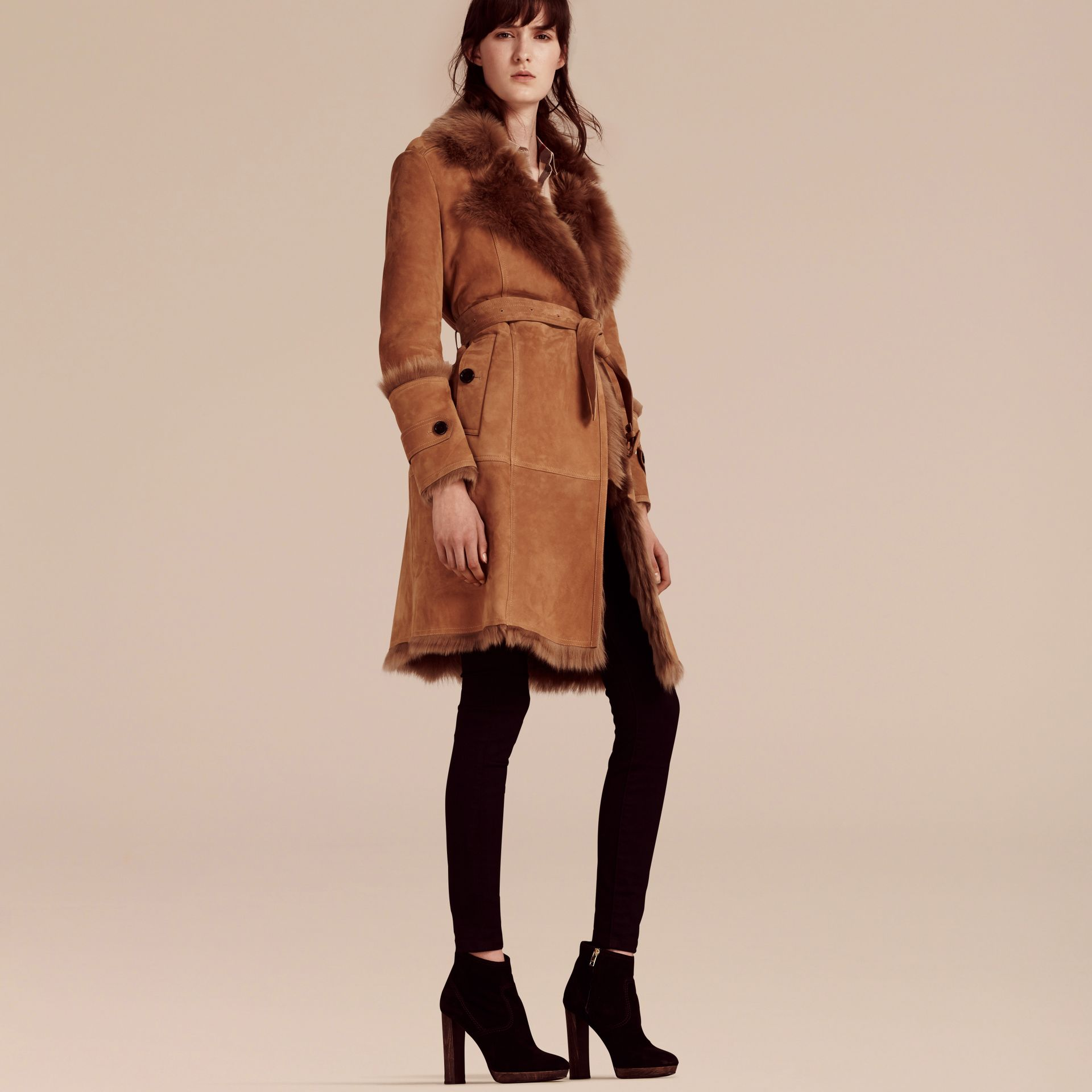 Dark camel Shearling Wrap Coat - gallery image 5