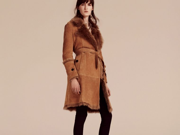 Dark camel Shearling Wrap Coat - cell image 4