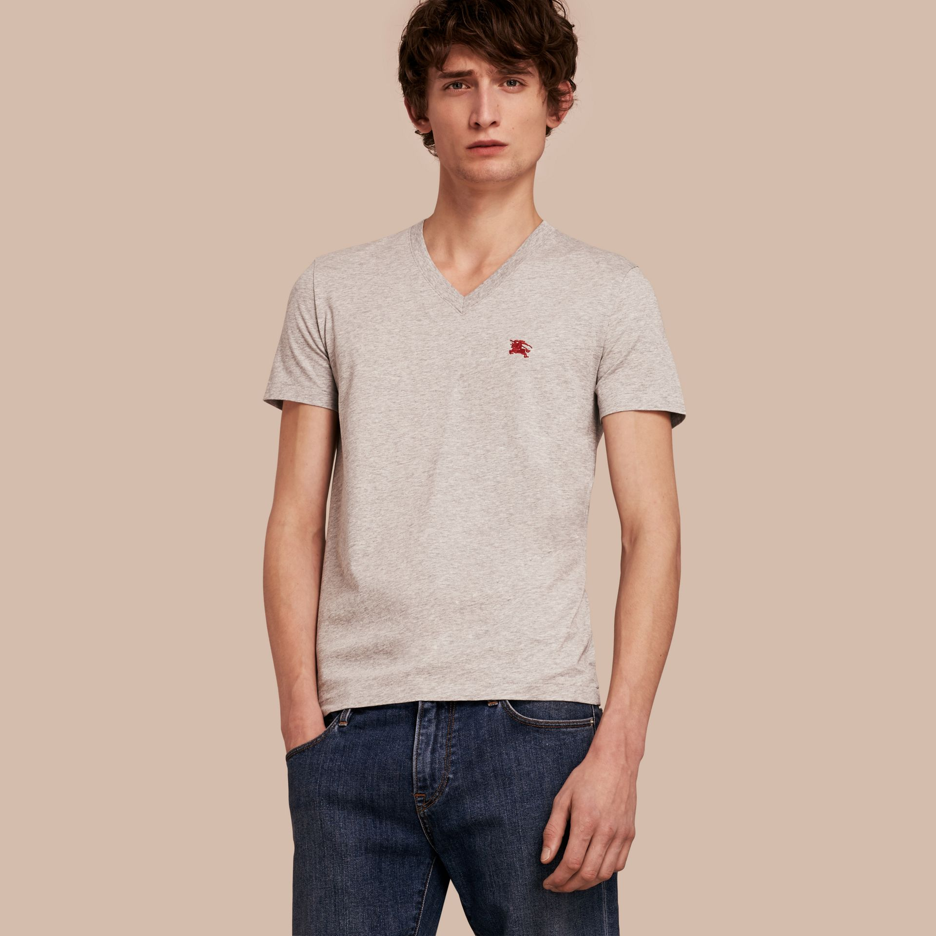 Cotton V-neck T-shirt in Pale Grey Melange - gallery image 1