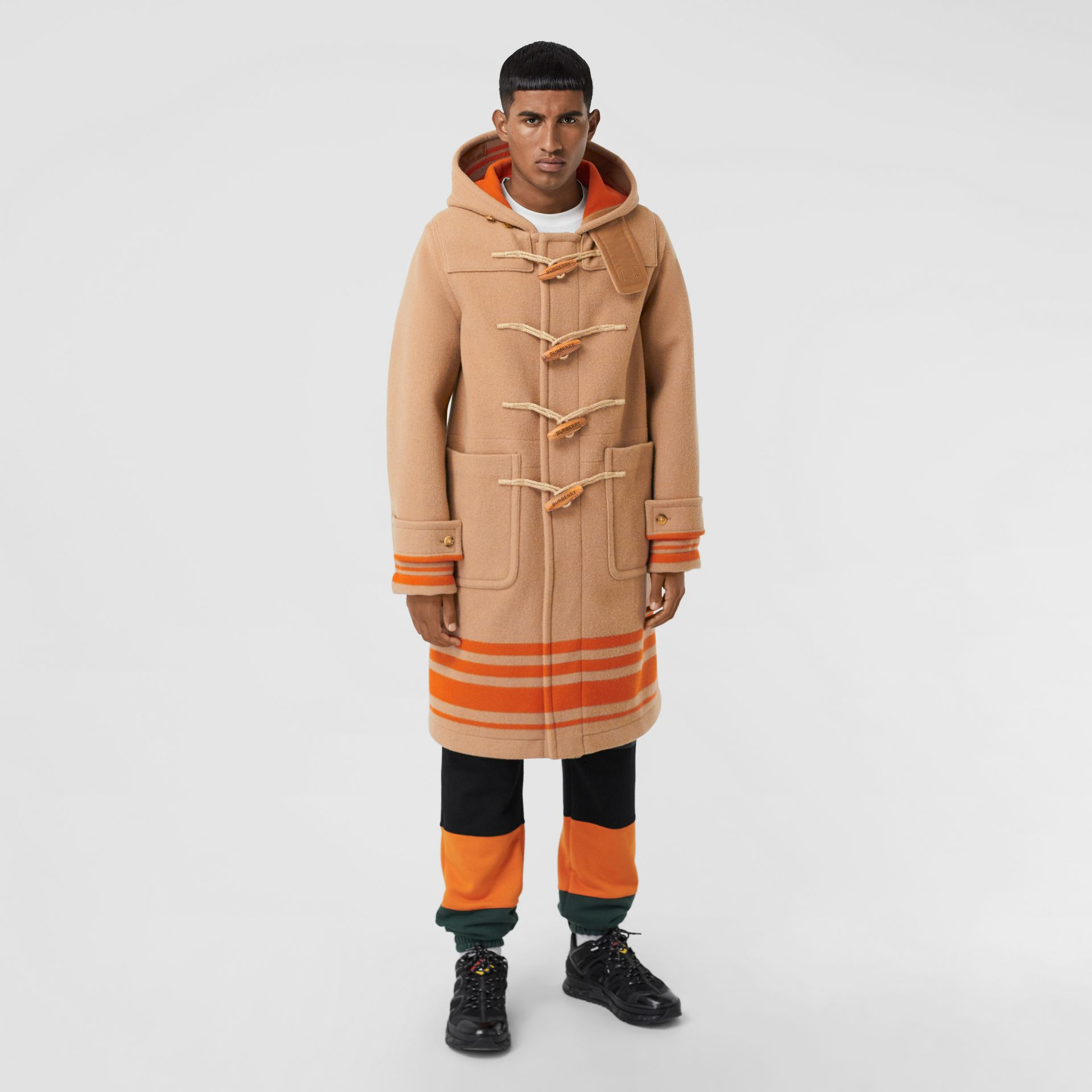 Striped Double-faced Wool Duffle Coat in Camel/orange - Men | Burberry - gallery image 4