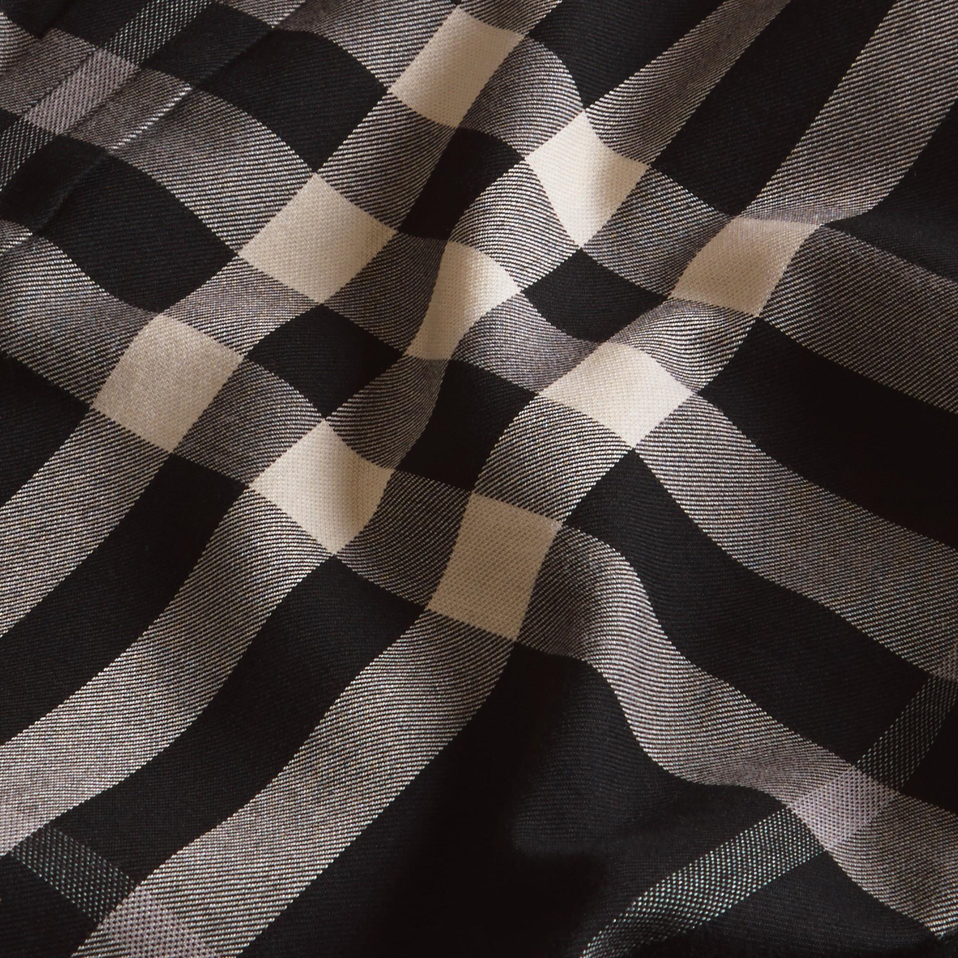 Negro Camisa a cuadros en franela de algodón y cachemir Negro - imagen de la galería 2