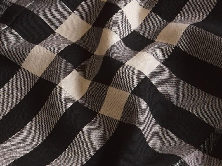 Negro Camisa a cuadros en franela de algodón y cachemir Negro - cell image 1