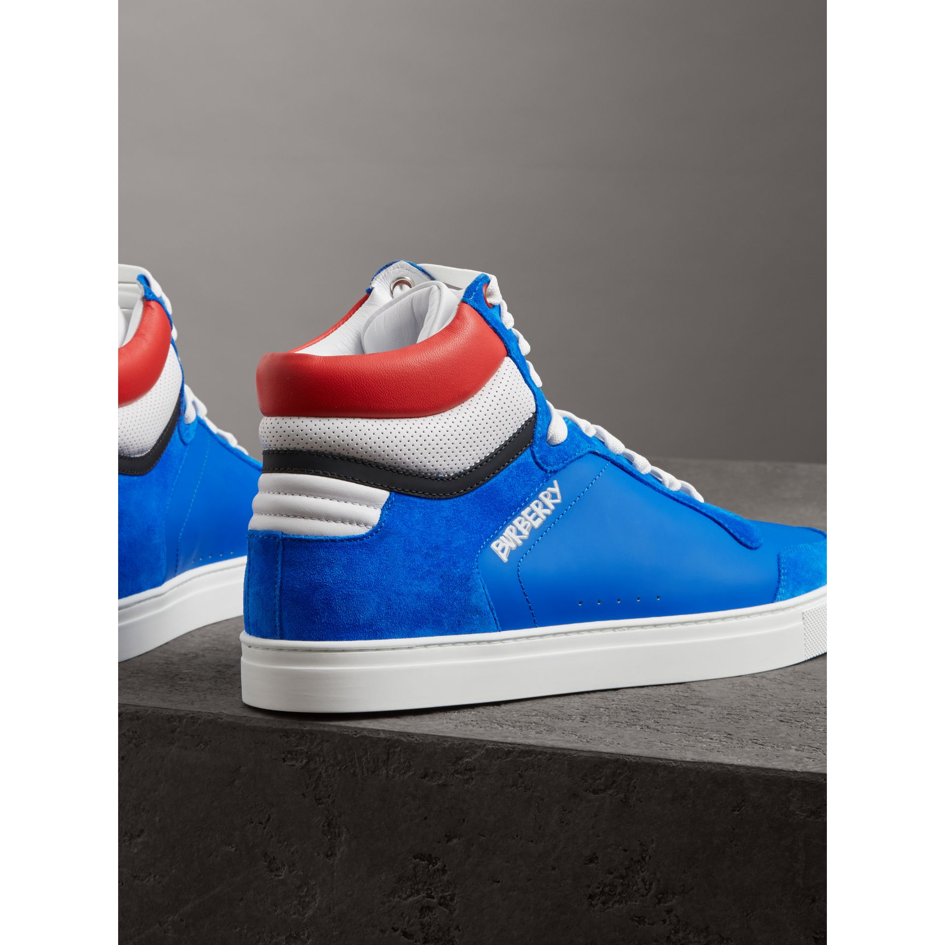 Leather and Suede High-top Sneakers in Bright Sky Blue - Men | Burberry - gallery image 3