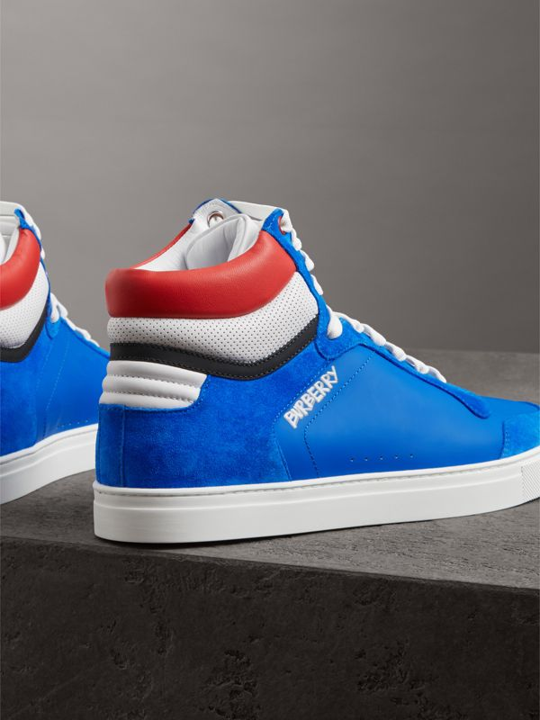 Leather and Suede High-top Sneakers in Bright Sky Blue - Men | Burberry - cell image 3