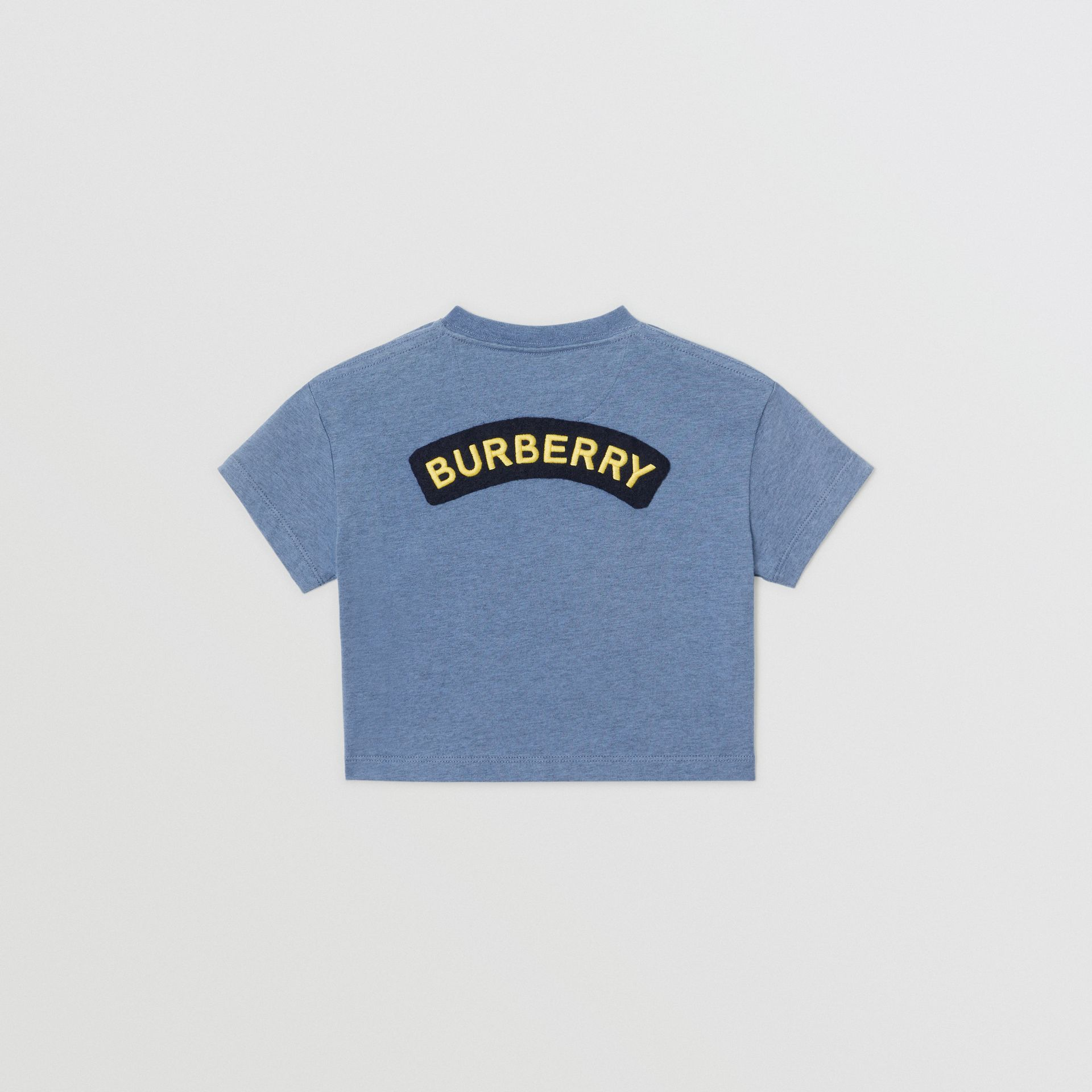Logo Montage Cotton T-shirt in Dusty Blue - Children | Burberry - gallery image 3