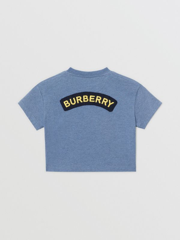 Logo Montage Cotton T-shirt in Dusty Blue - Children | Burberry - cell image 3