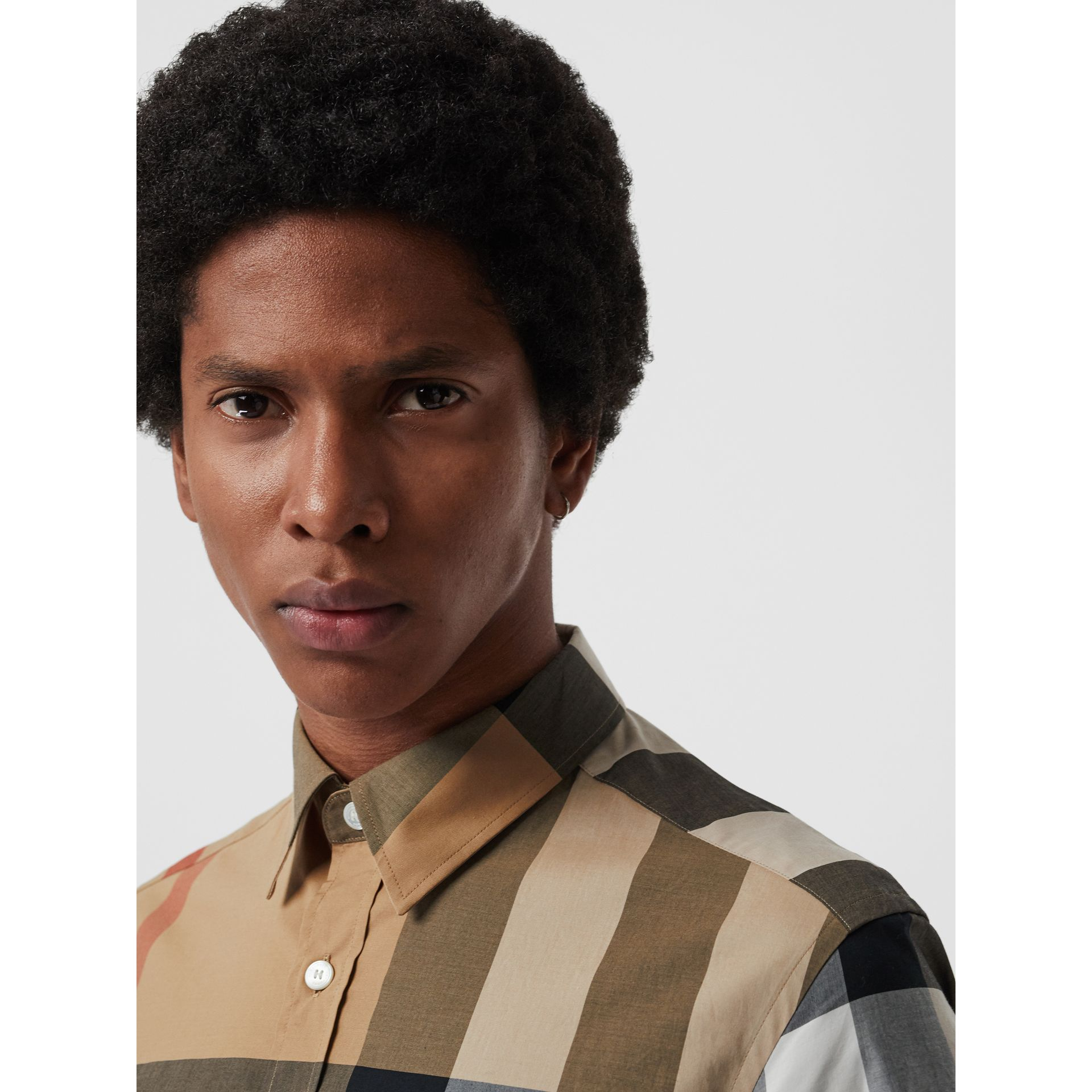 Short-sleeve Check Stretch Cotton Shirt in Camel - Men | Burberry United States - gallery image 1